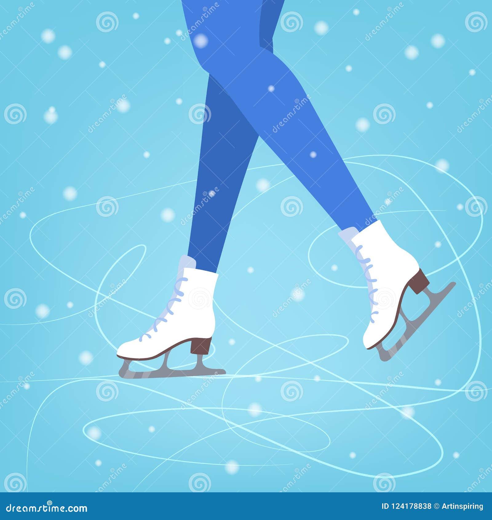Nogi w łyżwach na błękitnym lodzie