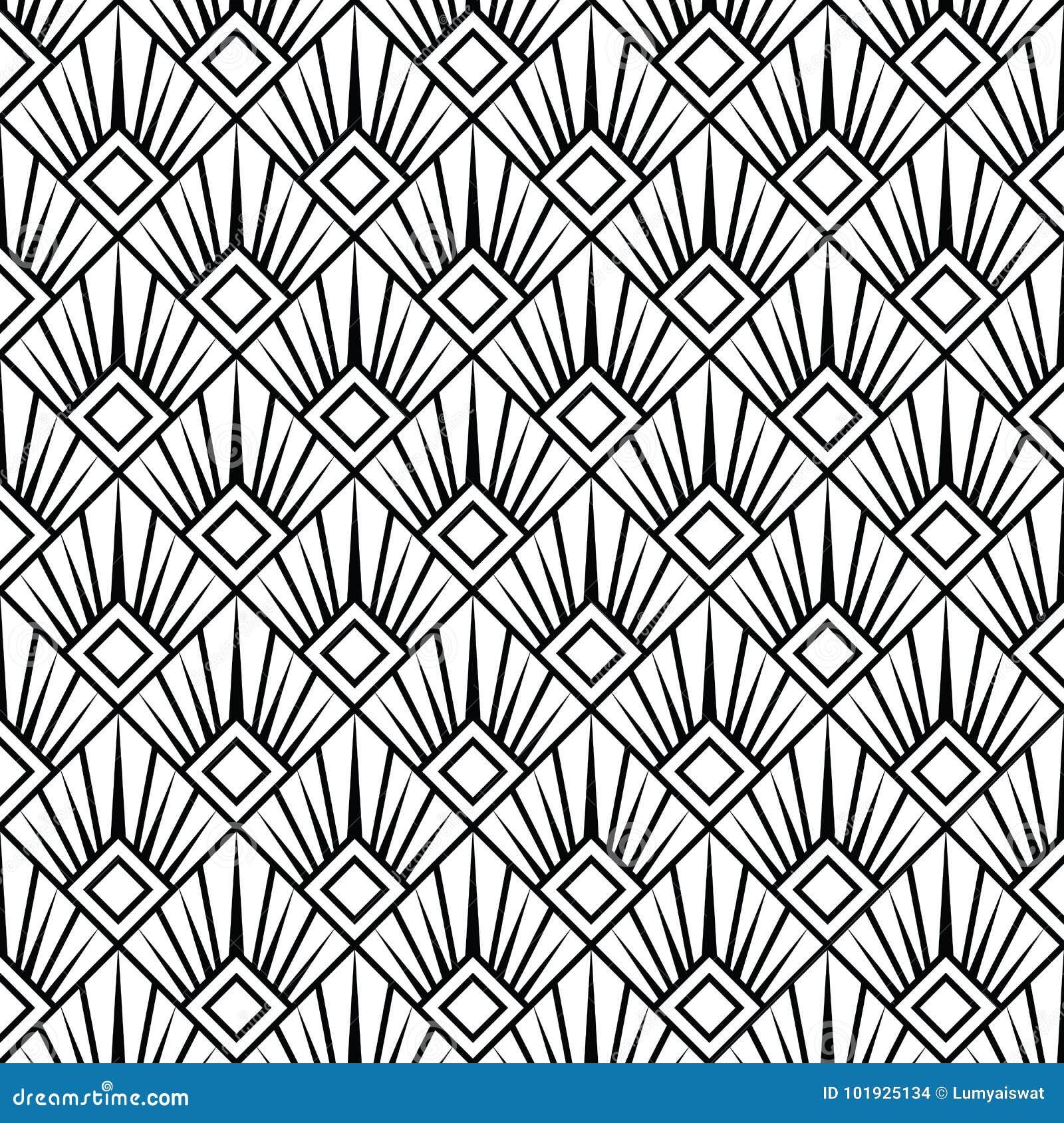Papier Peint Art Deco Blanc noir arabe sans couture monochrome d'art déco illustration