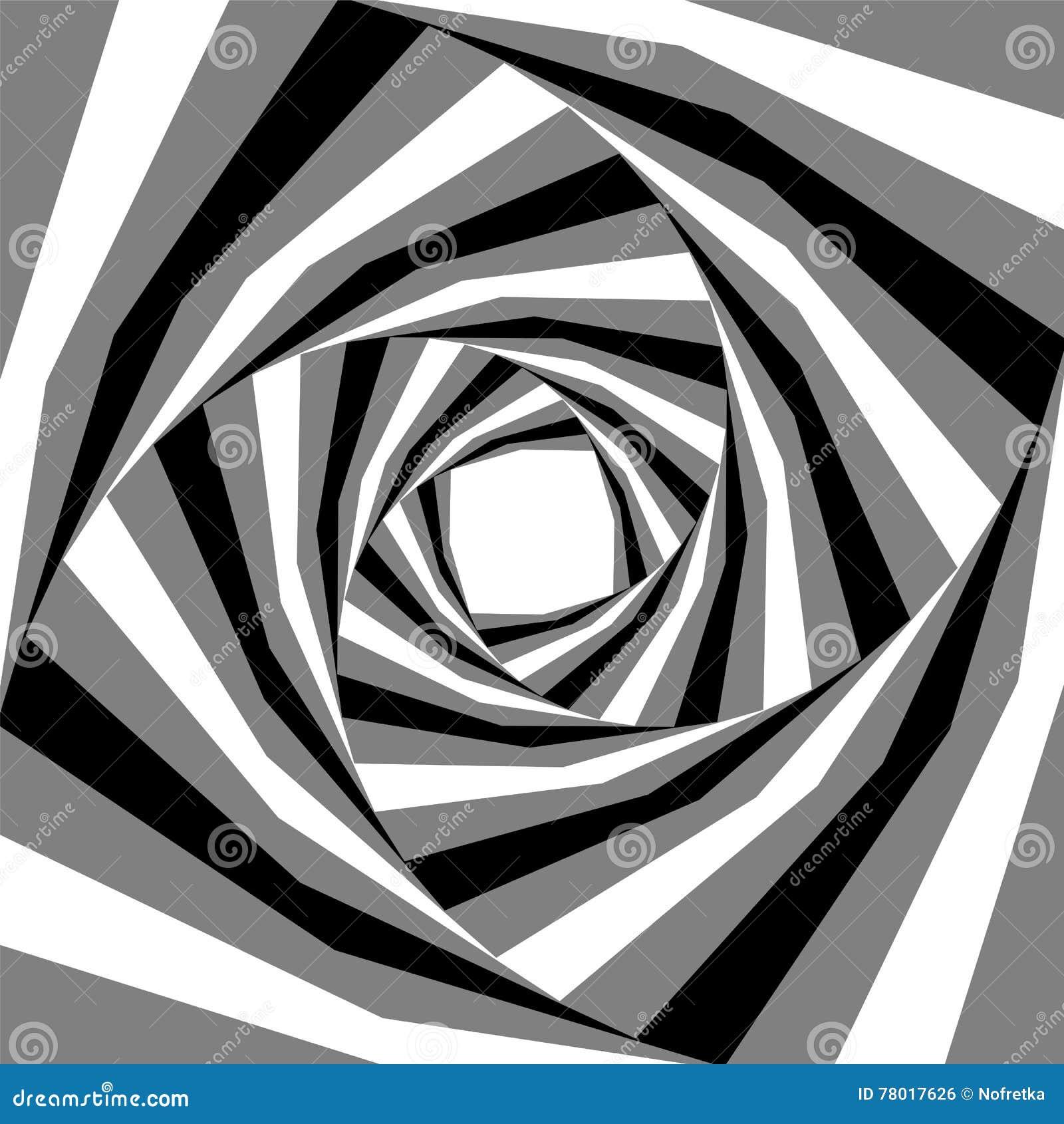 Noir, blanc et Grey Striped Helix Expanding du centre Effet visuel de profondeur et de volume Approprié au web design