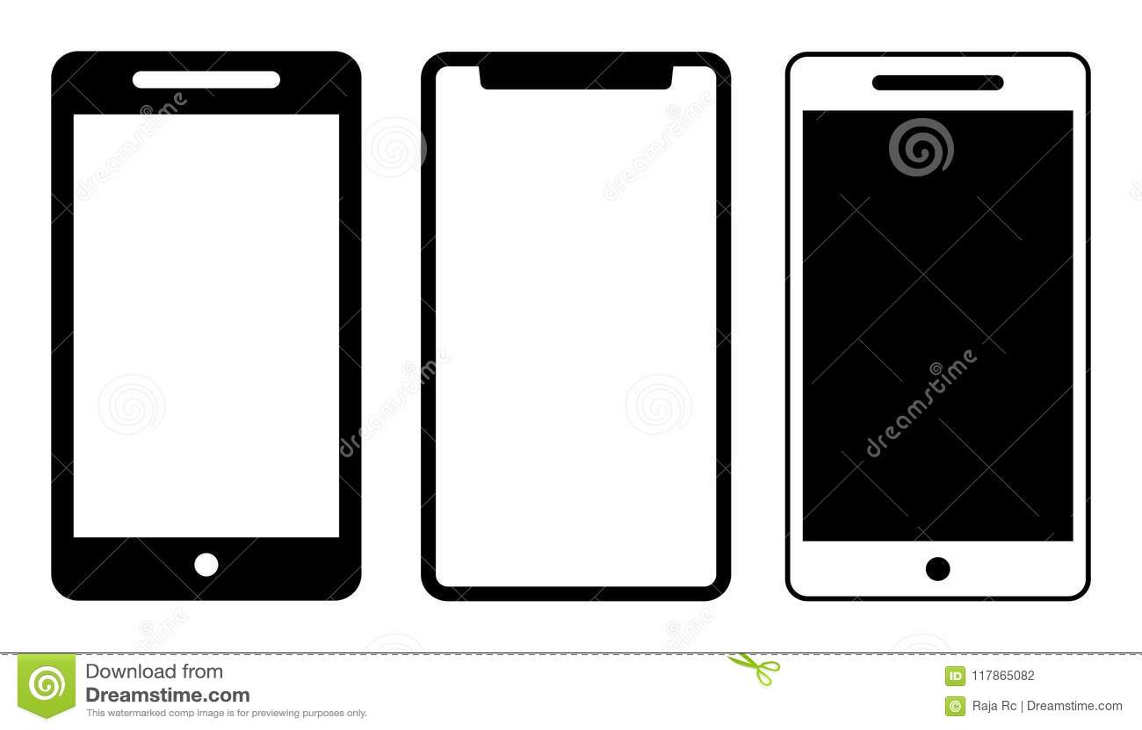 Noir de calibre d icônes de téléphone portable