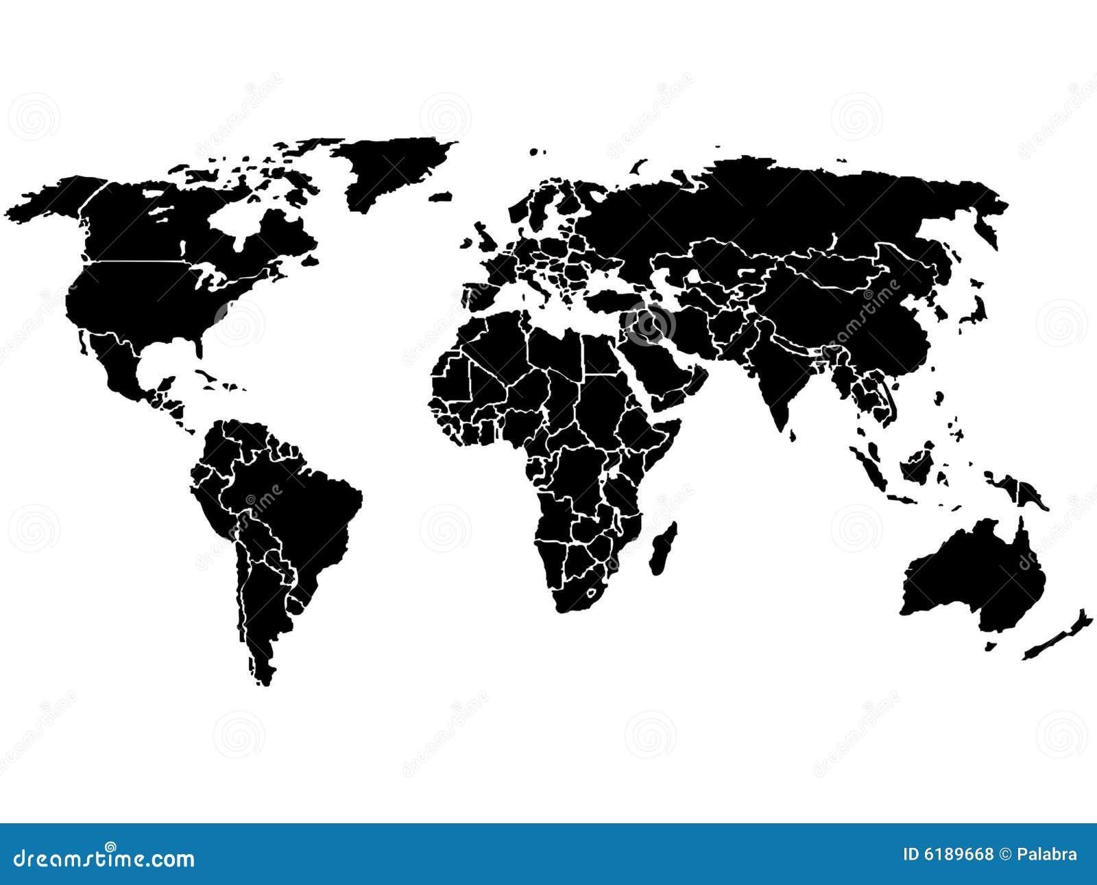 Noir De Carte Du Monde Seulement Illustration De Vecteur
