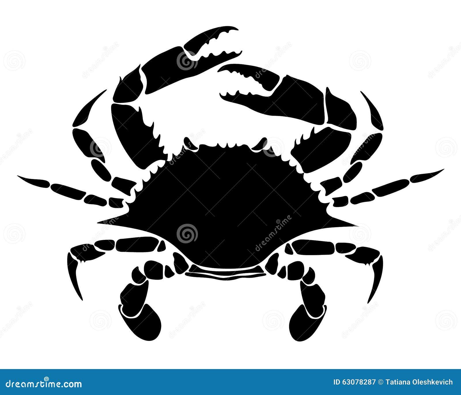 Download Noir De Crabe Sur Un Fond Blanc Illustration de Vecteur - Illustration du animal, cuisine: 63078287