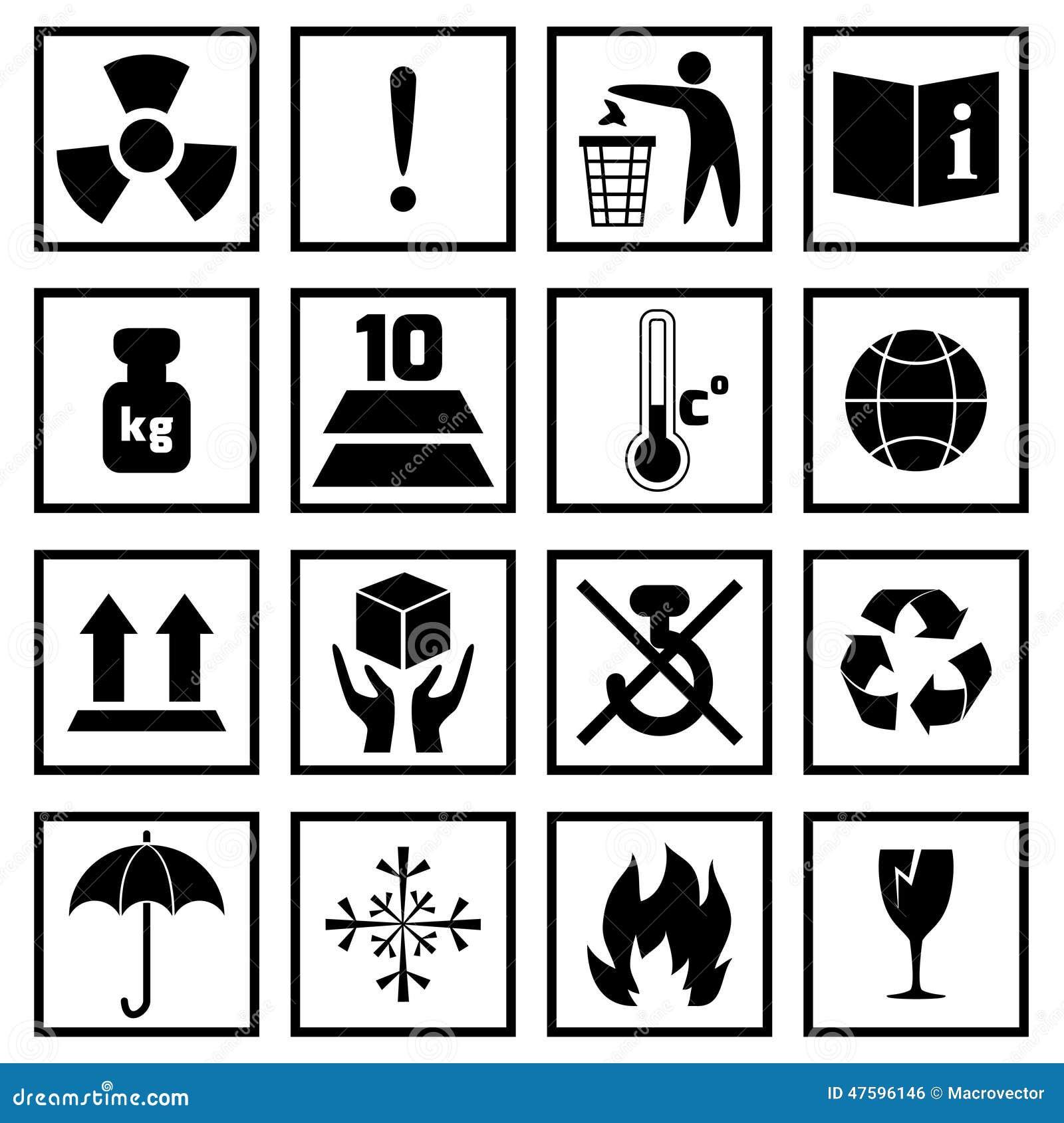 Noir de symboles d 39 emballage illustration de vecteur - Symbole de protection ...
