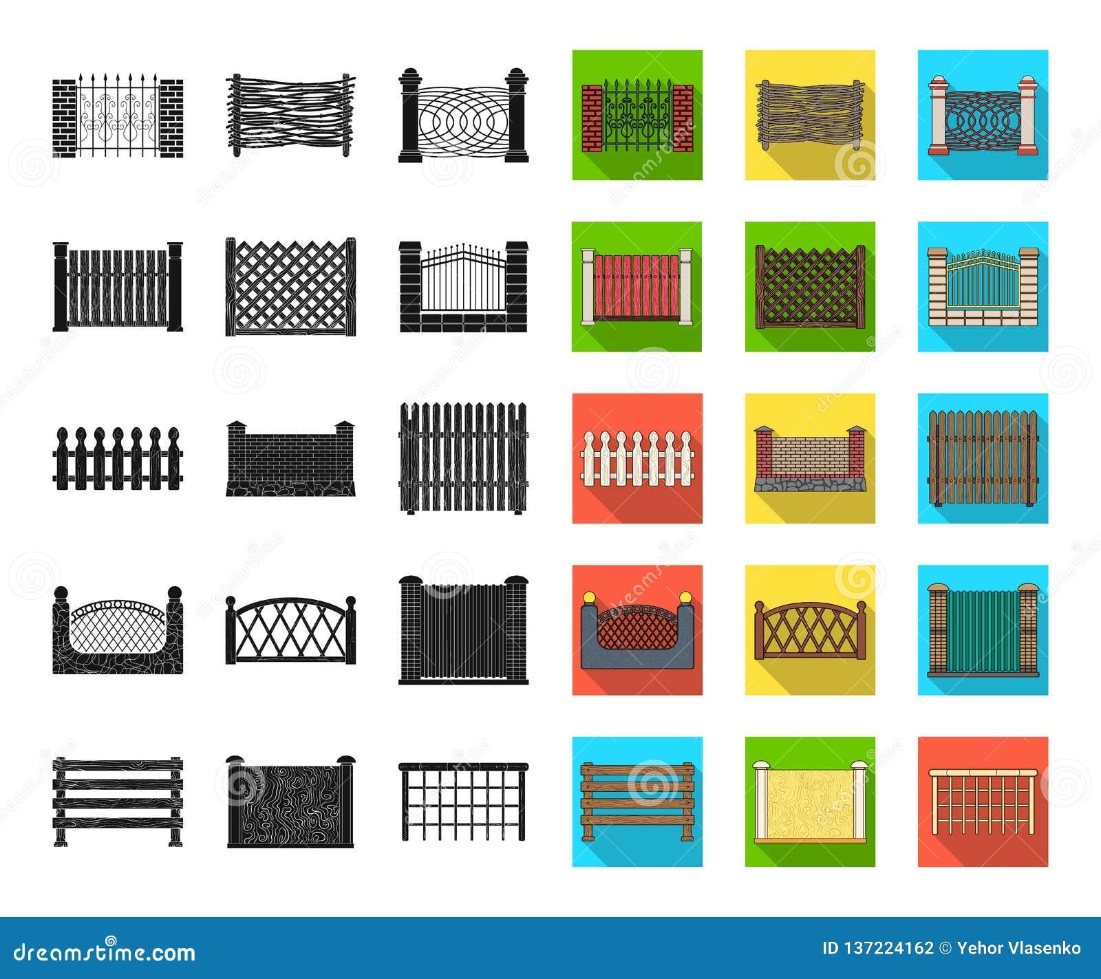 Noir différent de barrière, icônes plates dans la collection réglée pour la conception Illustration de clôture décorative de Web