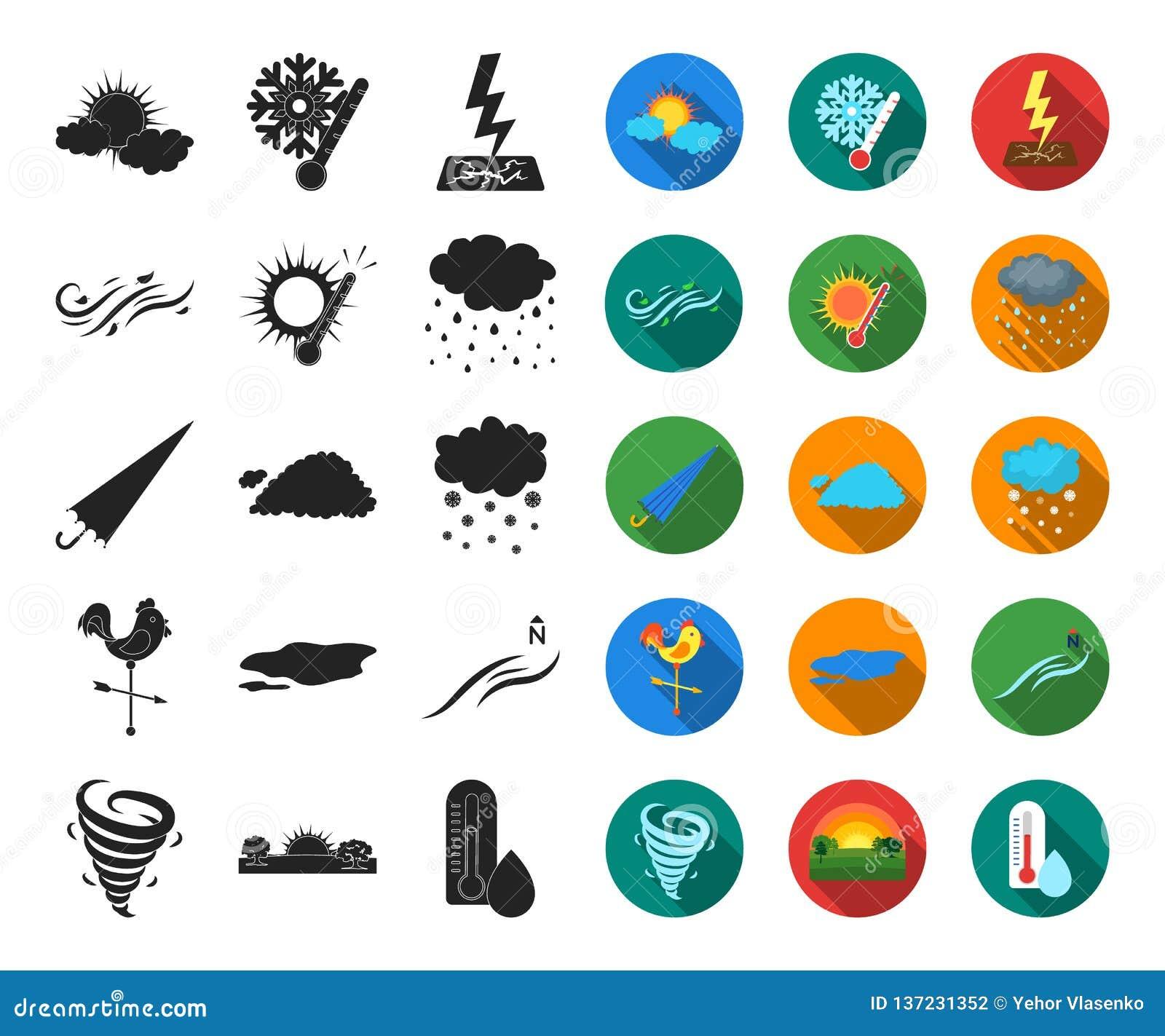 Noir différent de temps, icônes plates dans la collection réglée pour la conception Les signes et les caractéristiques du temps d