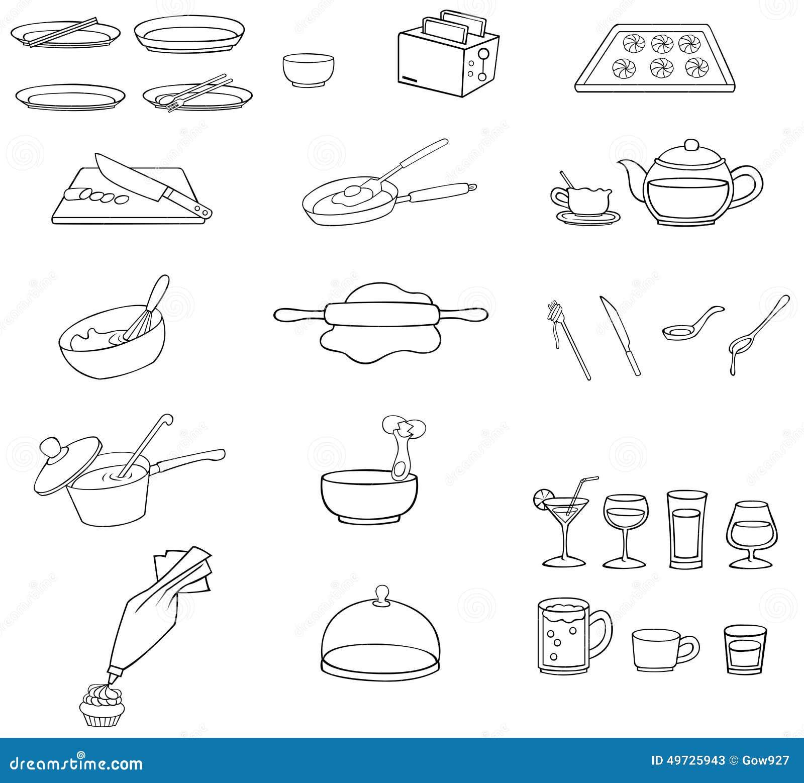 Noir et blanc ensemble d 39 ic ne de vaisselle de cuisine de - Vaisselle et ustensiles de cuisine ...