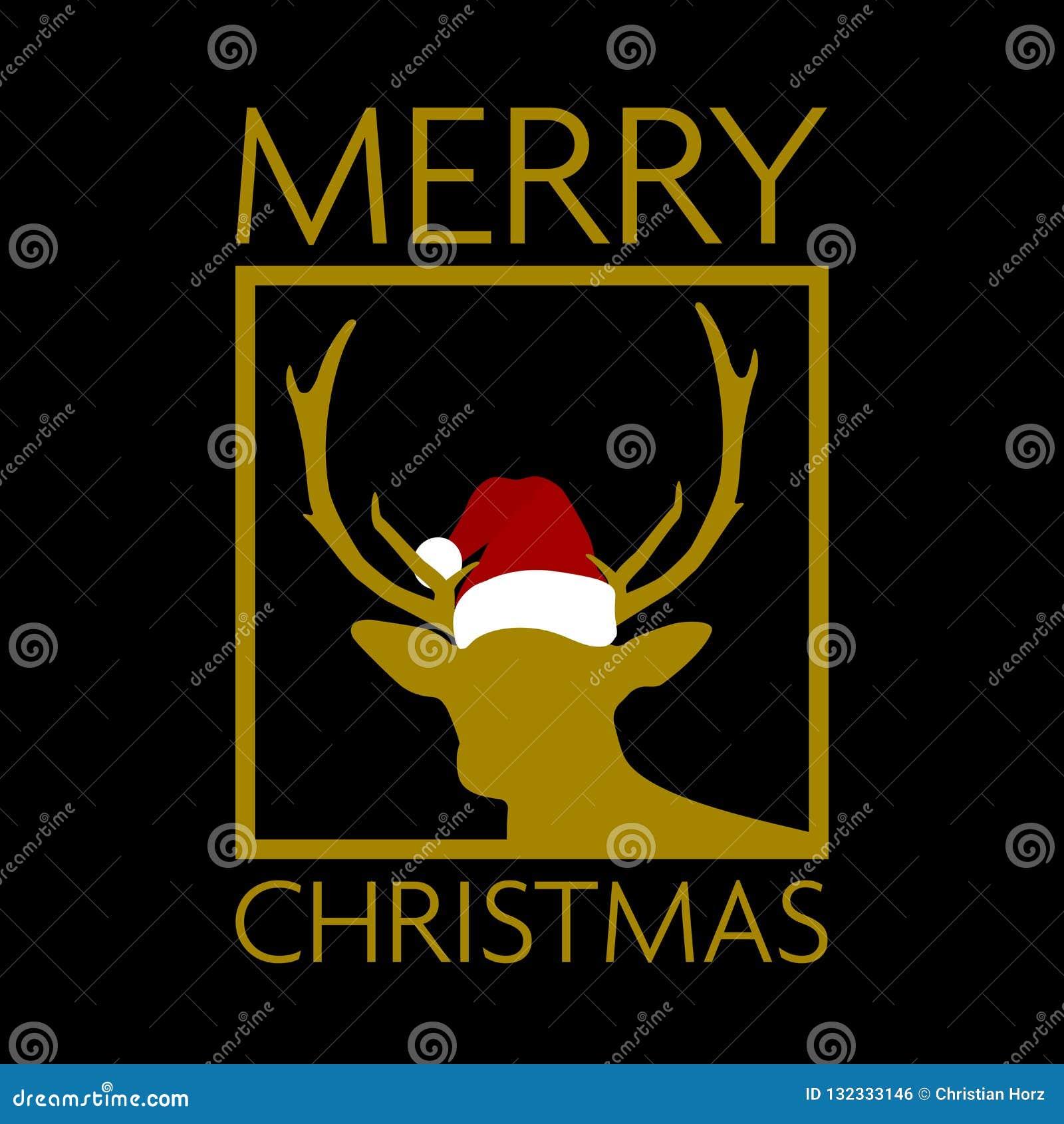 Noir et carte de Noël d or avec la silhouette de renne utilisant le chapeau de Santa