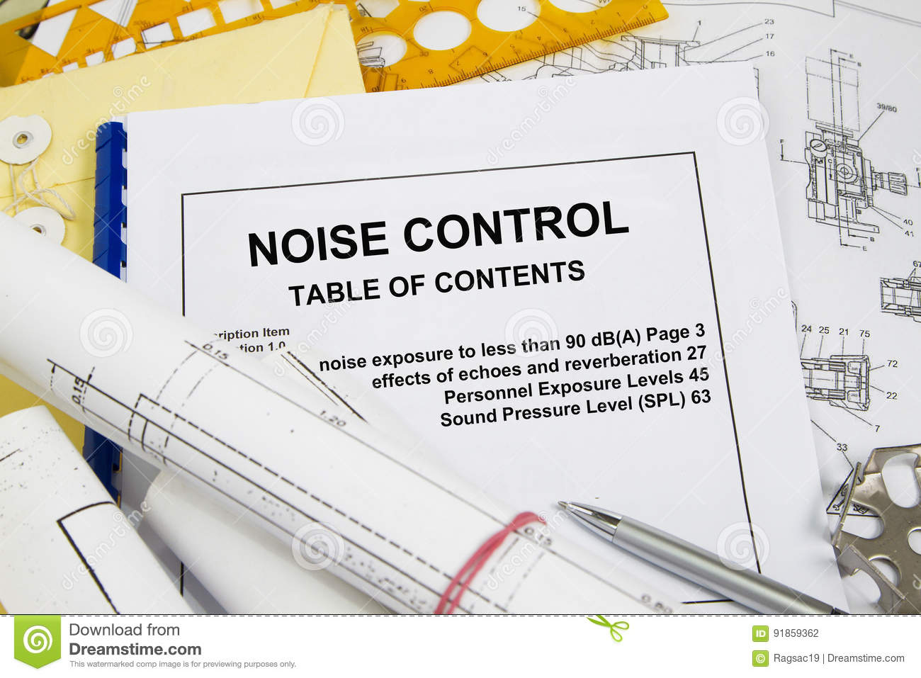 Noise control stock photo image of engineering part 91859362 noise control brochure with blueprint and pencil concept malvernweather Gallery