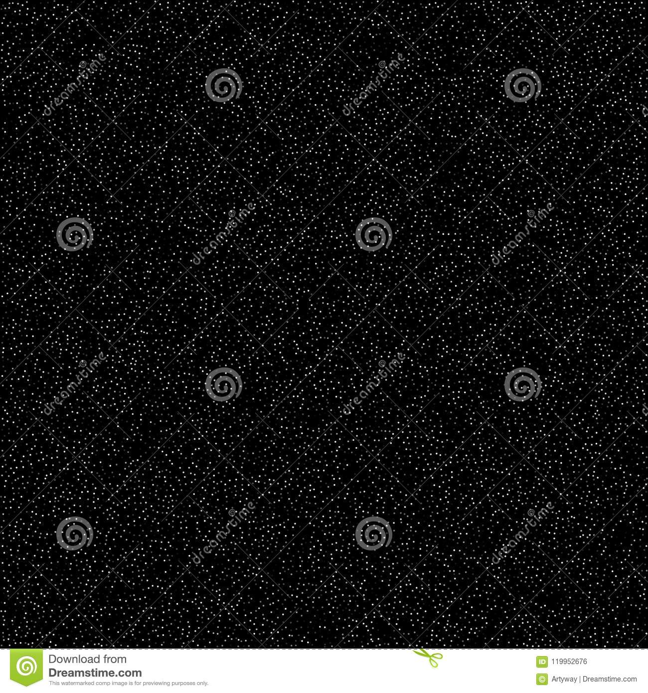 Noise pattern, digital effect. Sky with stars, simple flat design. Many white dots on black background, vector
