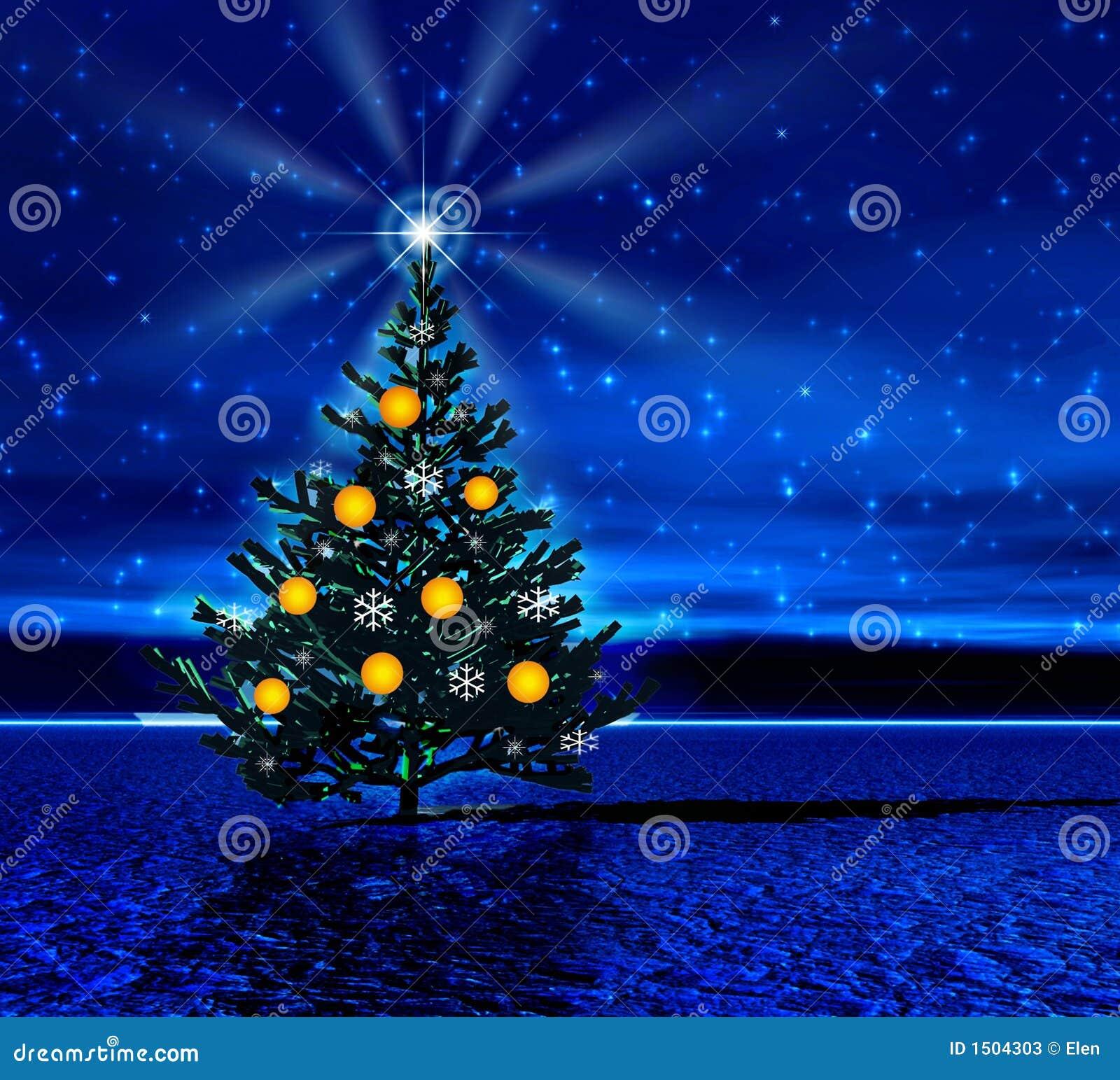 Noite. Árvore de Natal