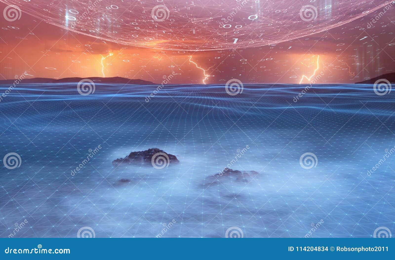Noite artística da tempestade com o backgrou futurista da rede do Cyberspace
