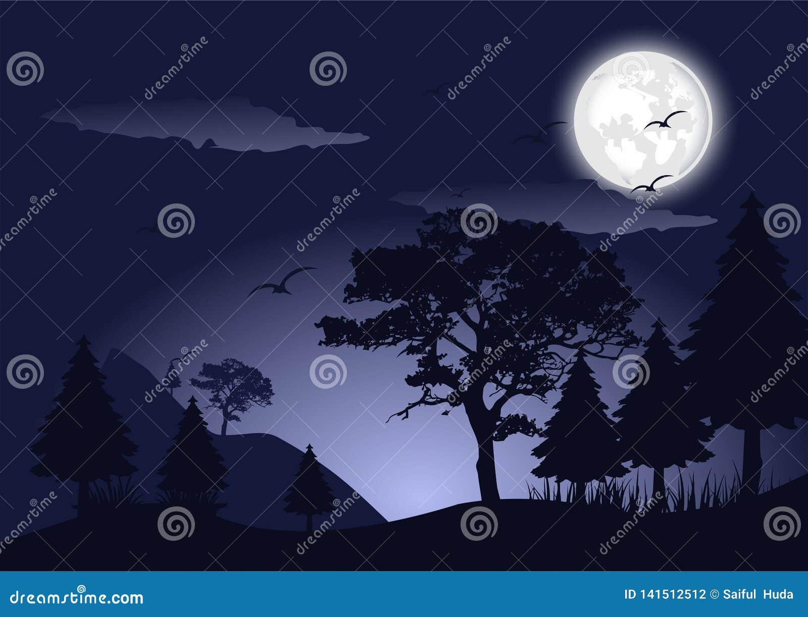 Noite da silhueta na imagem do vetor da paisagem da floresta