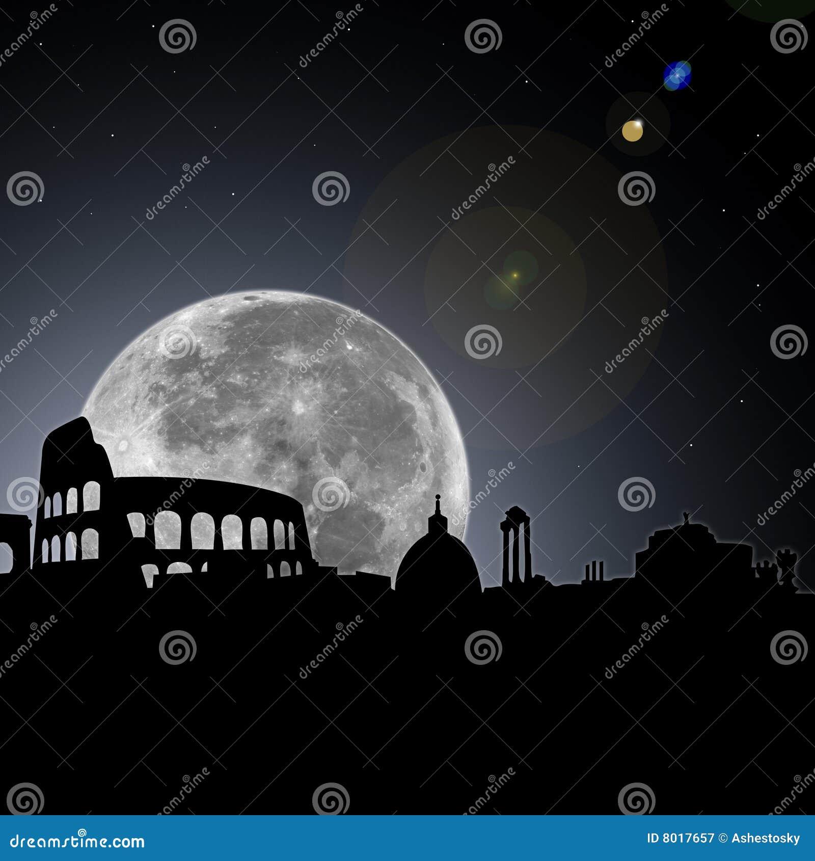 Noite da skyline de Roma com lua