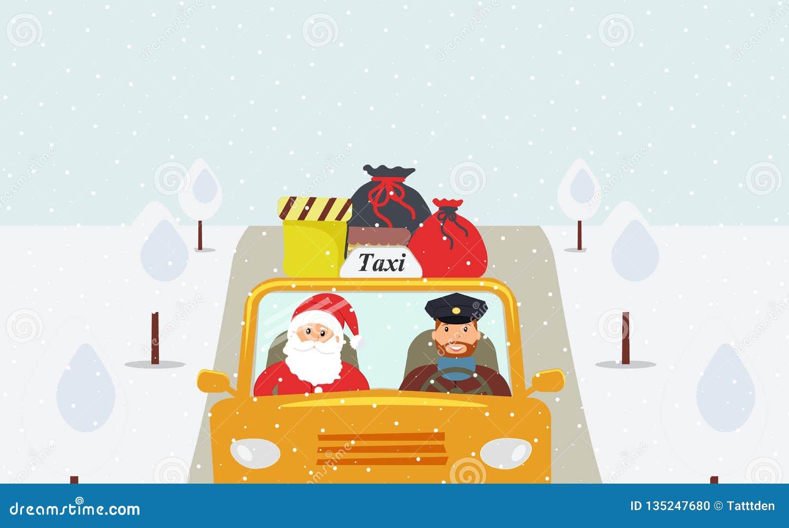 Noite de Natal: Santa Claus que vai no feriado em um táxi amarelo
