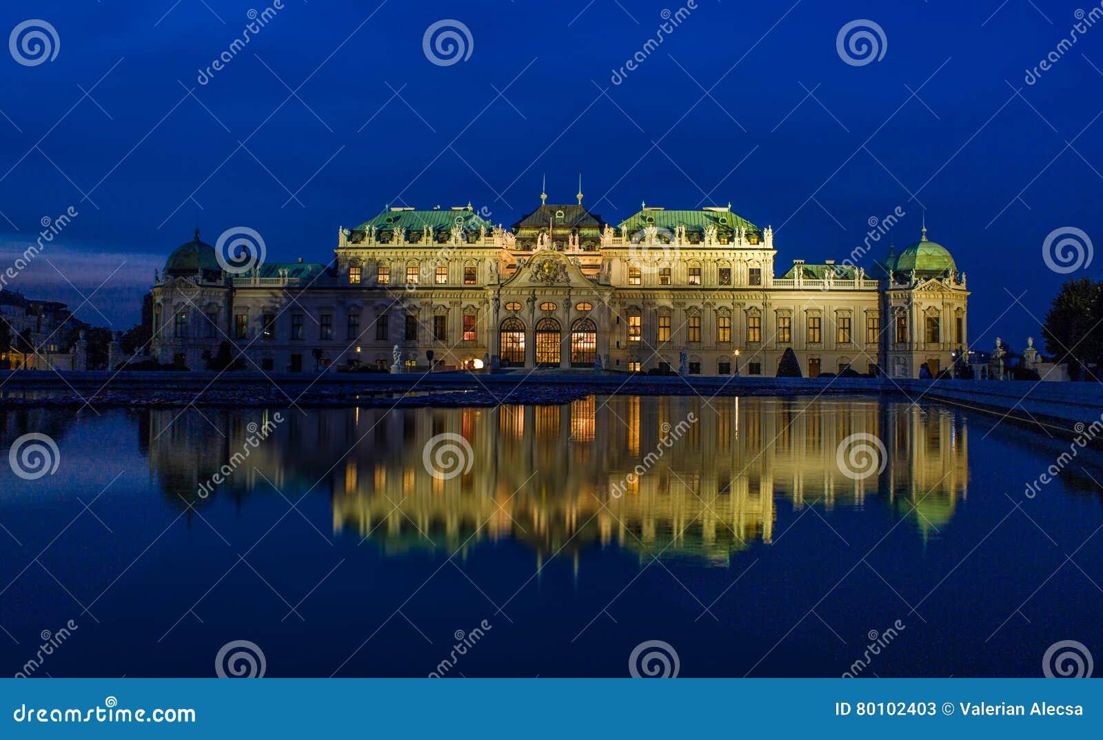 Noite de Viena do palácio do Belvedere