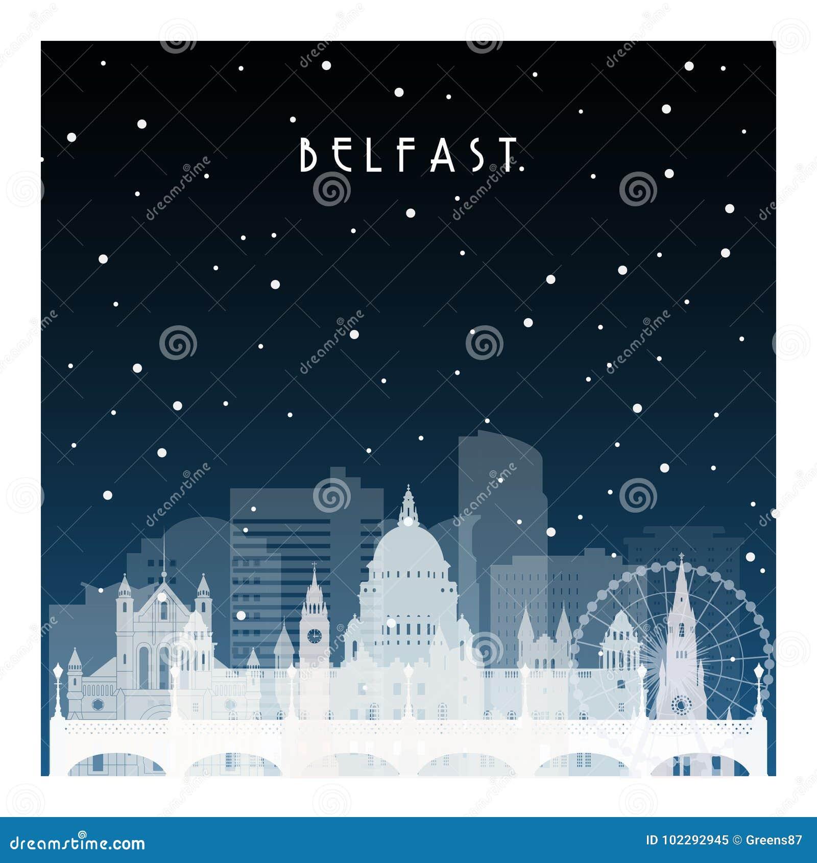 Noite do inverno em Belfast