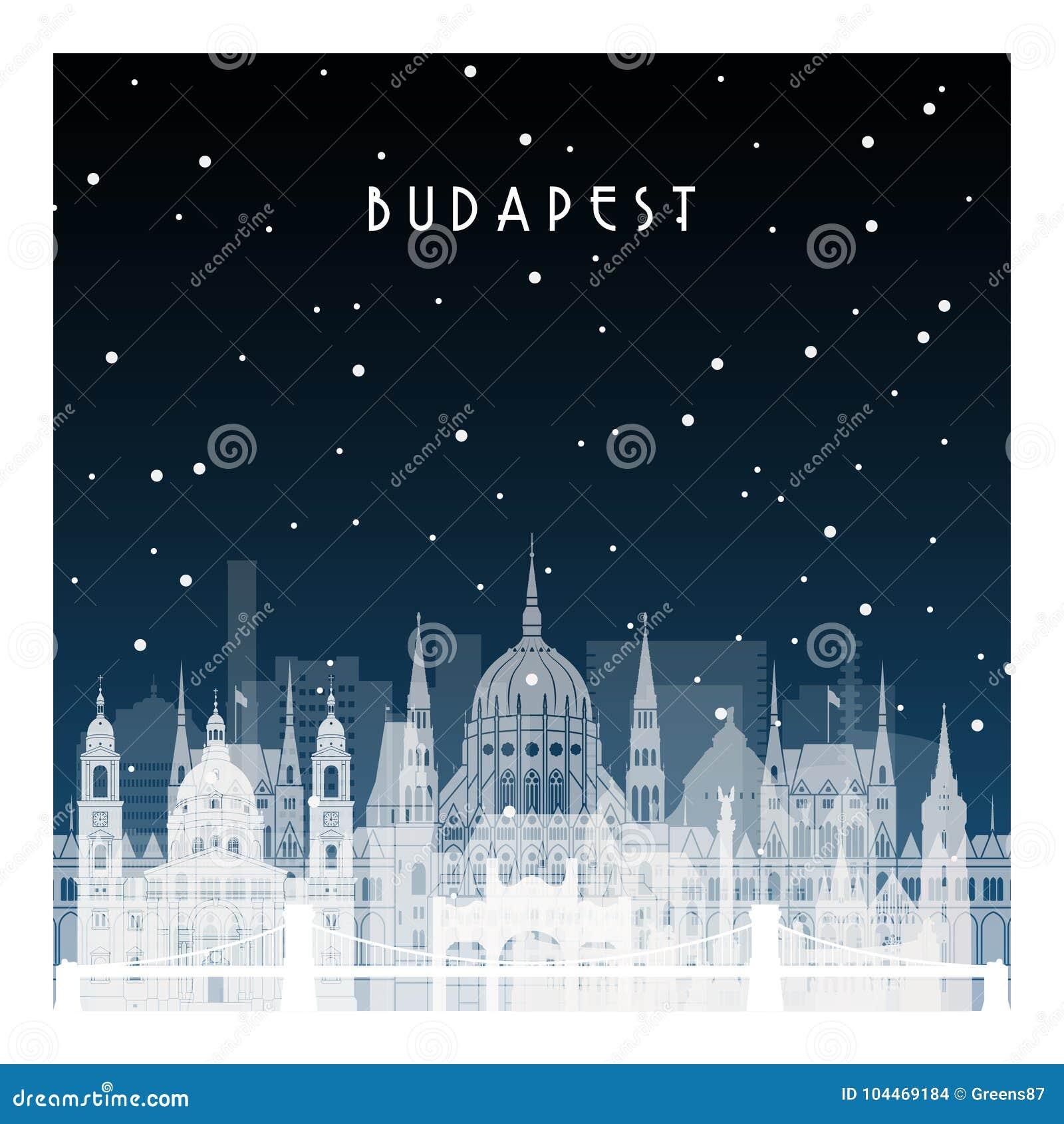 Noite do inverno em Budapest