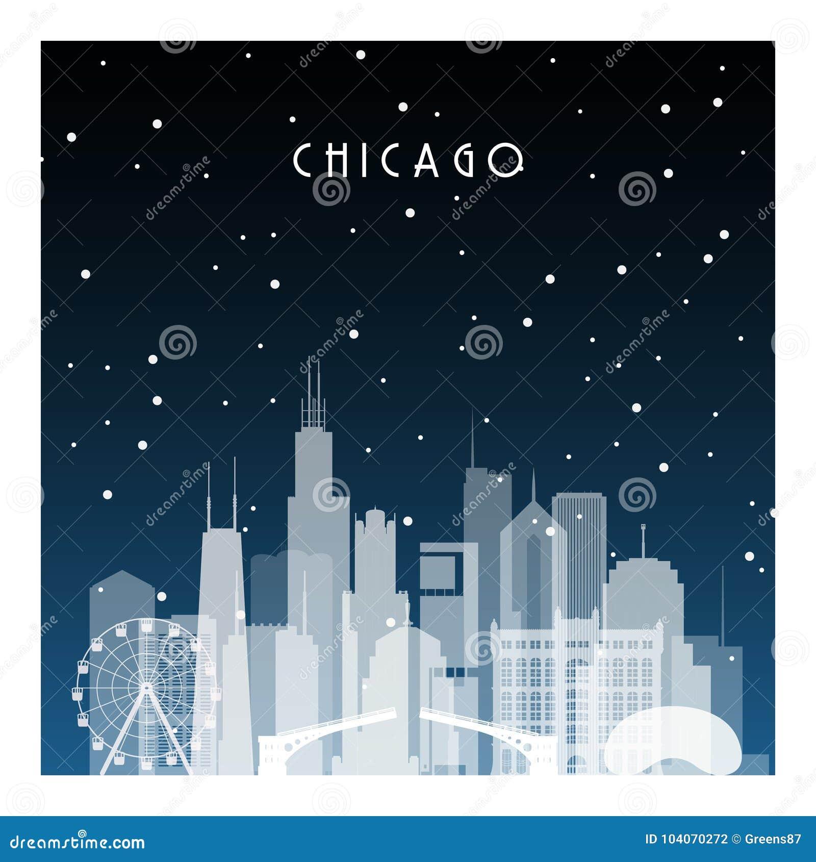 Noite do inverno em Chicago