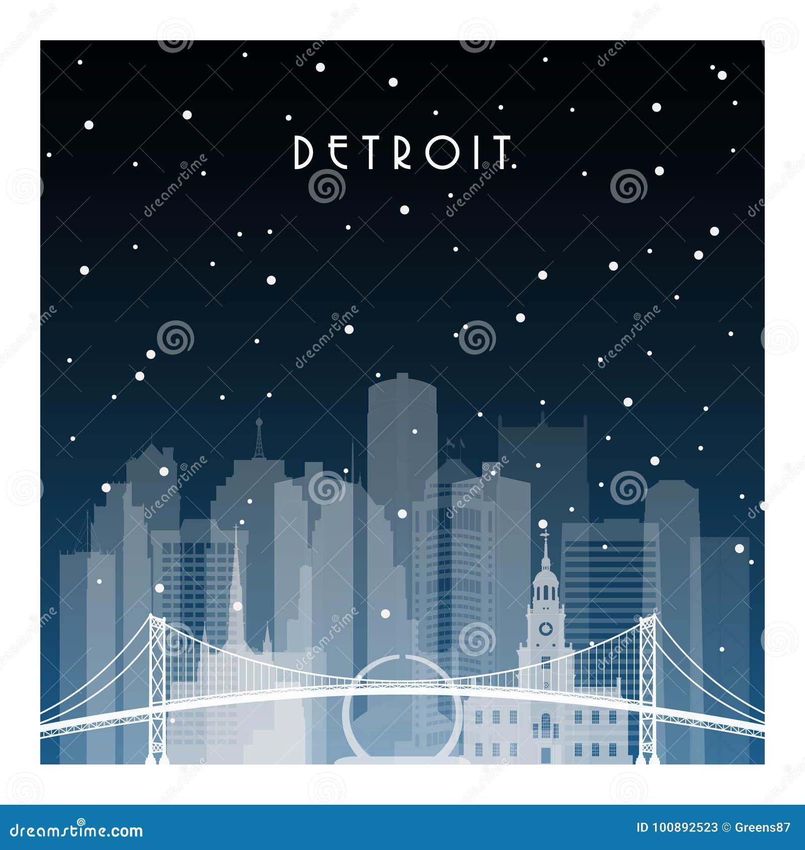 Noite do inverno em Detroit