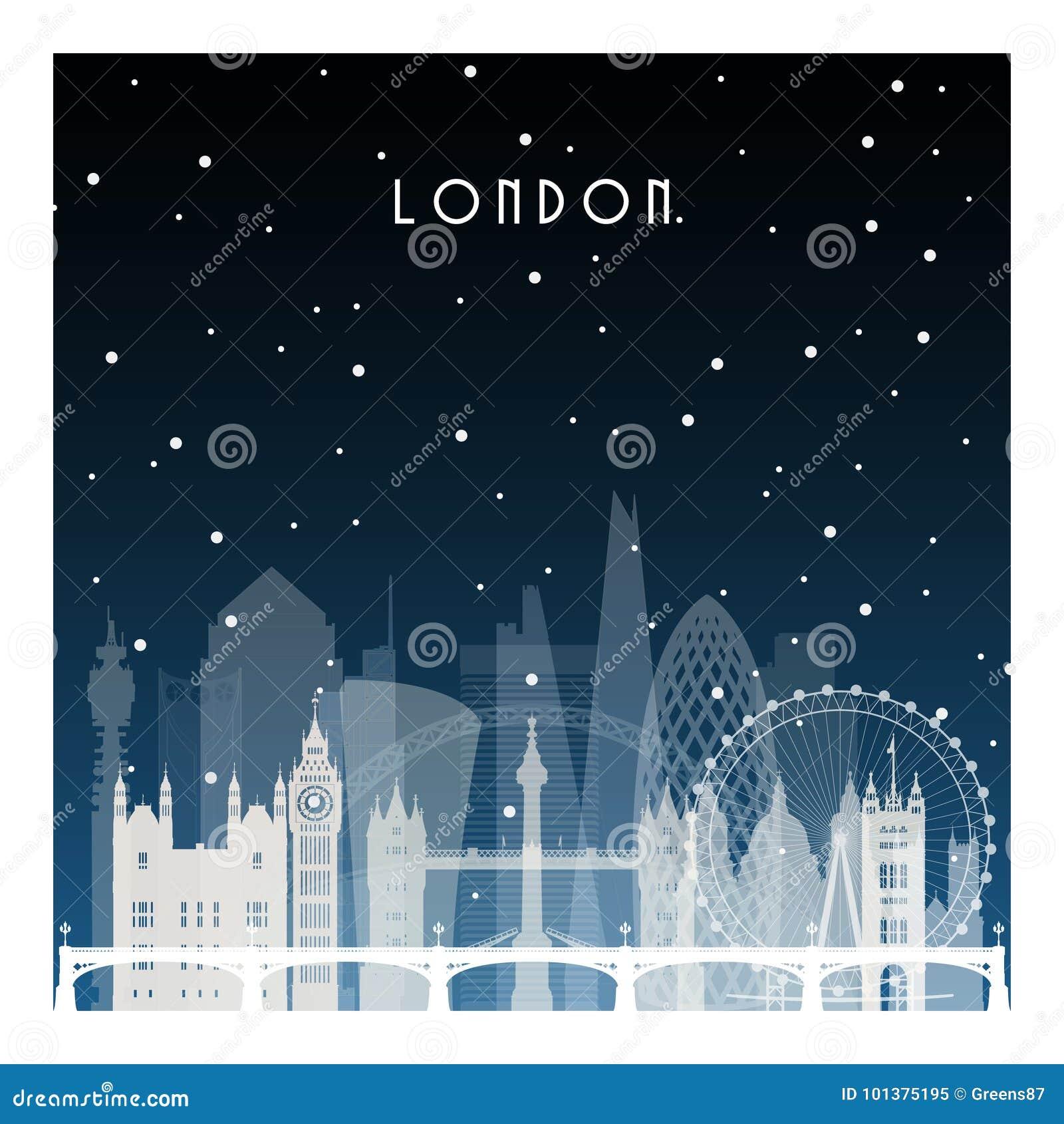 Noite do inverno em Londres