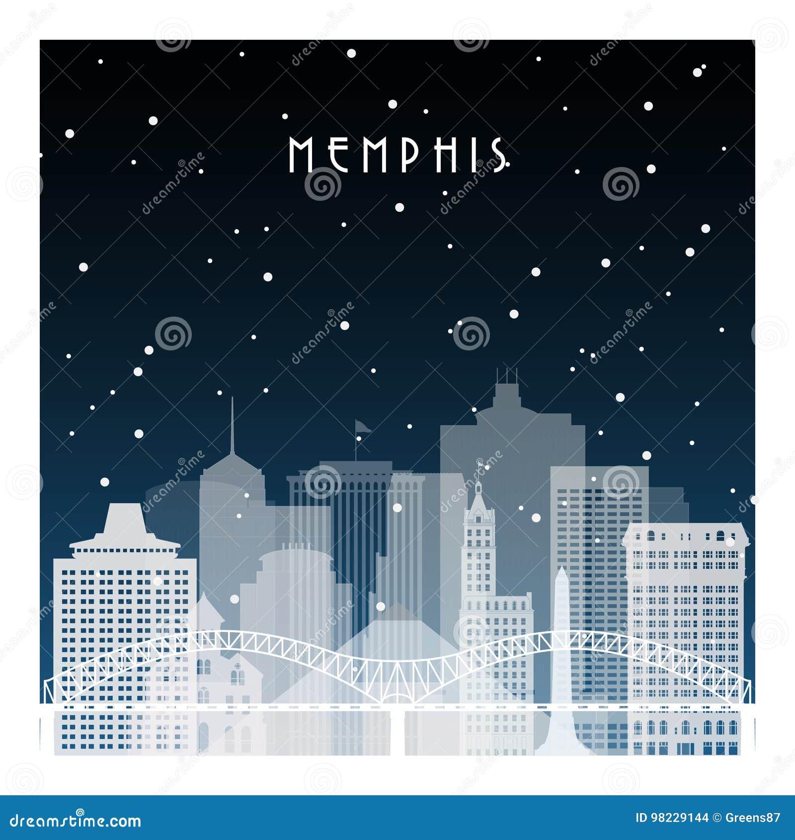 Noite do inverno em Memphis