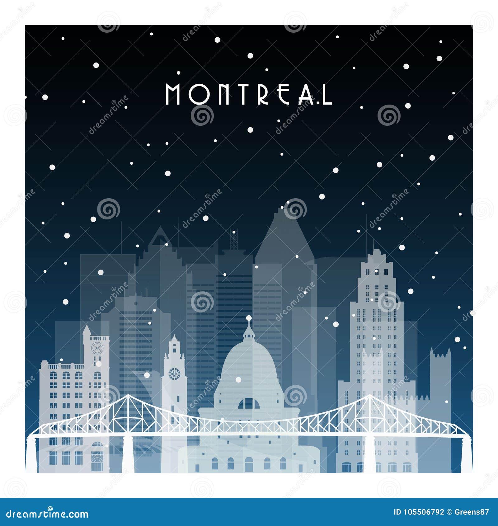 Noite do inverno em Montreal