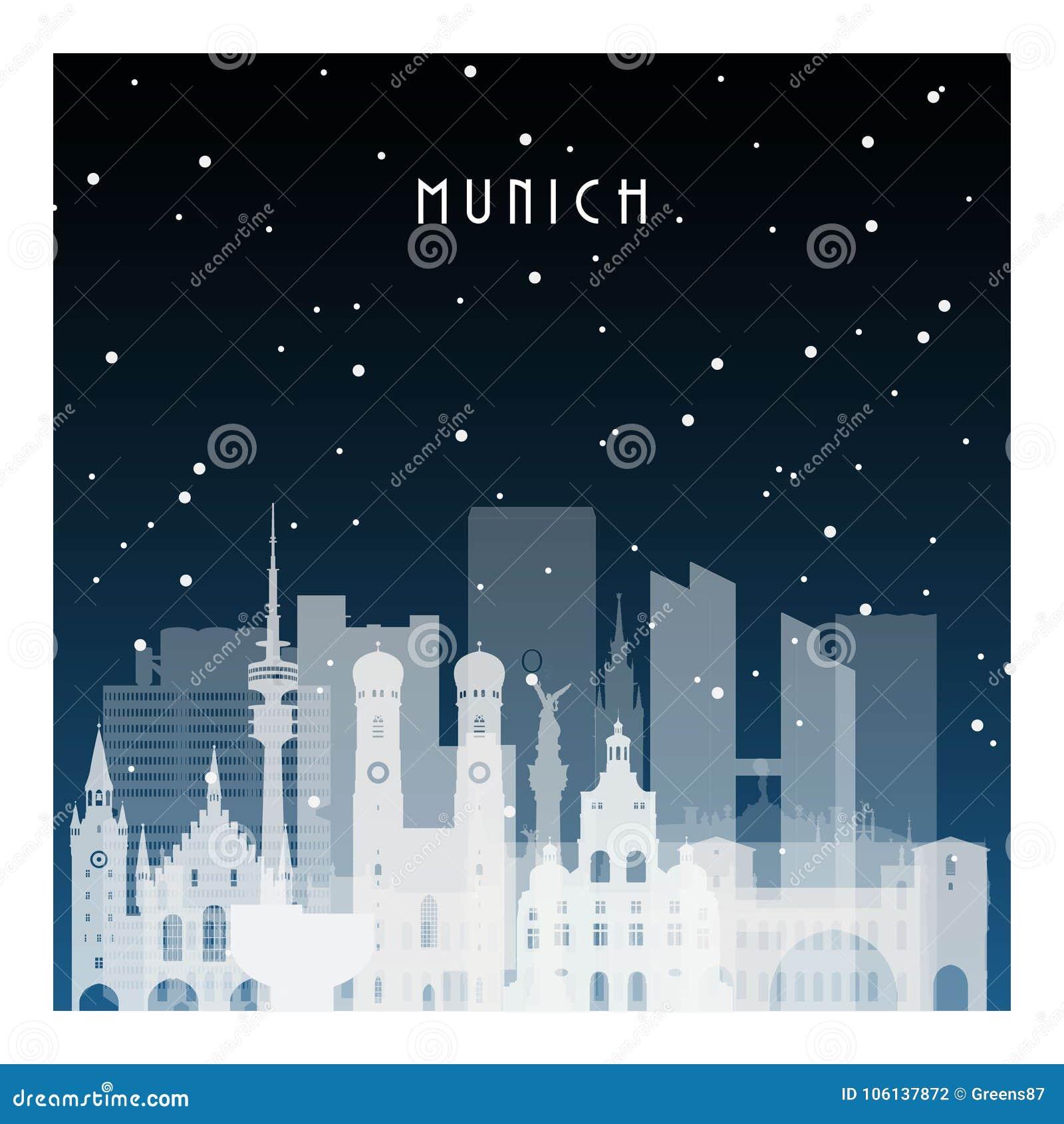 Noite do inverno em Munich