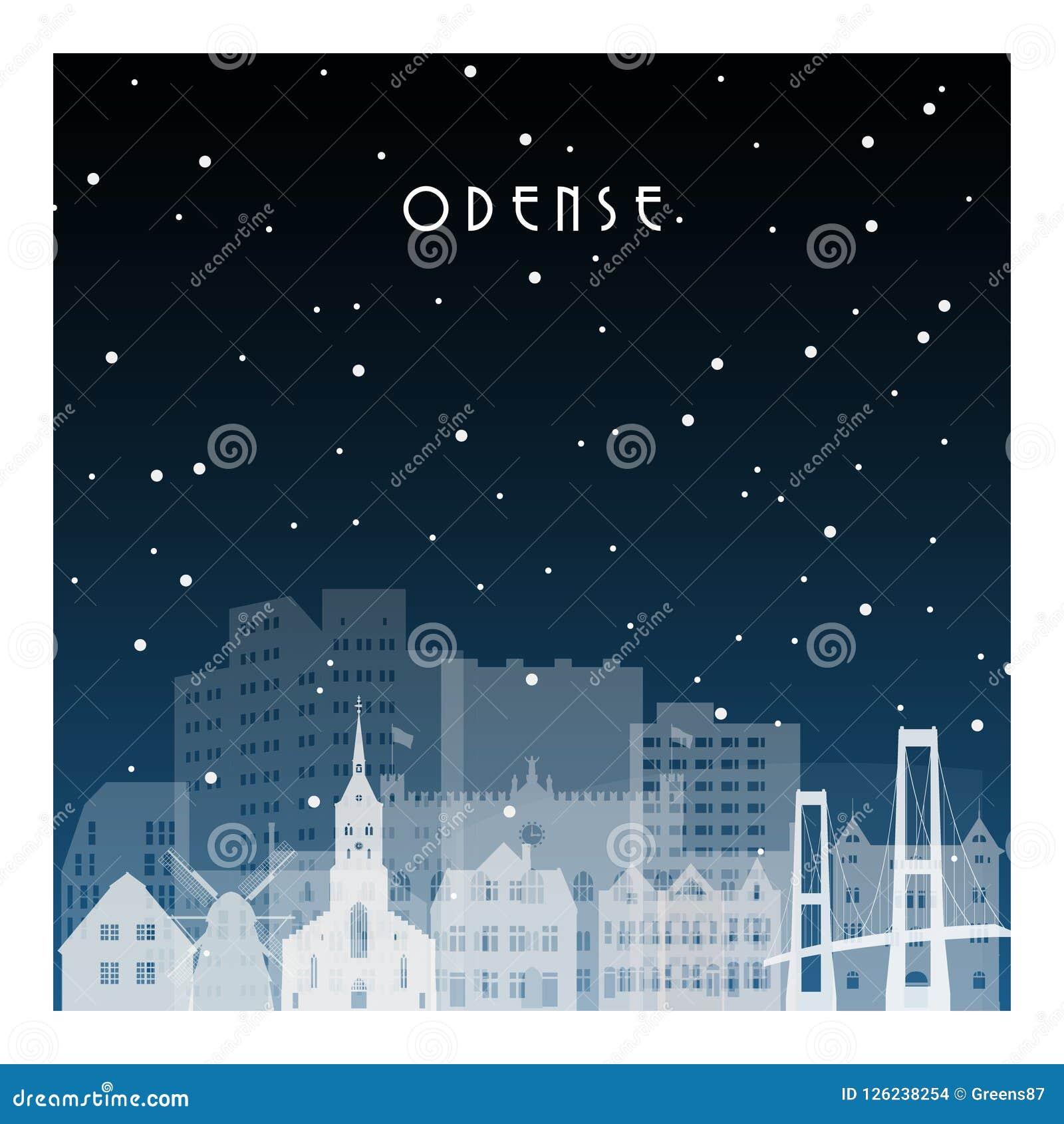 Noite do inverno em Odense