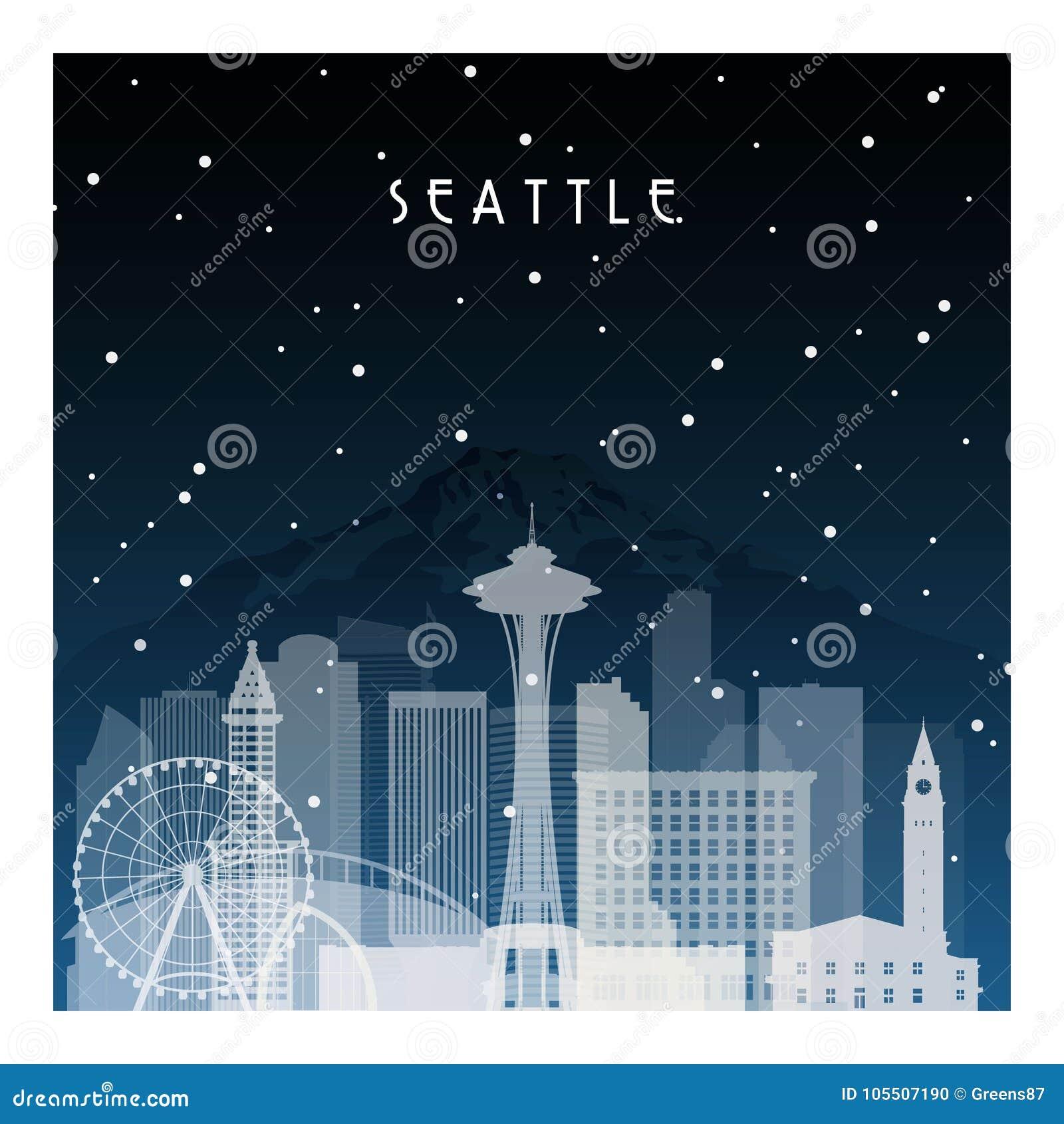Noite do inverno em Seattle