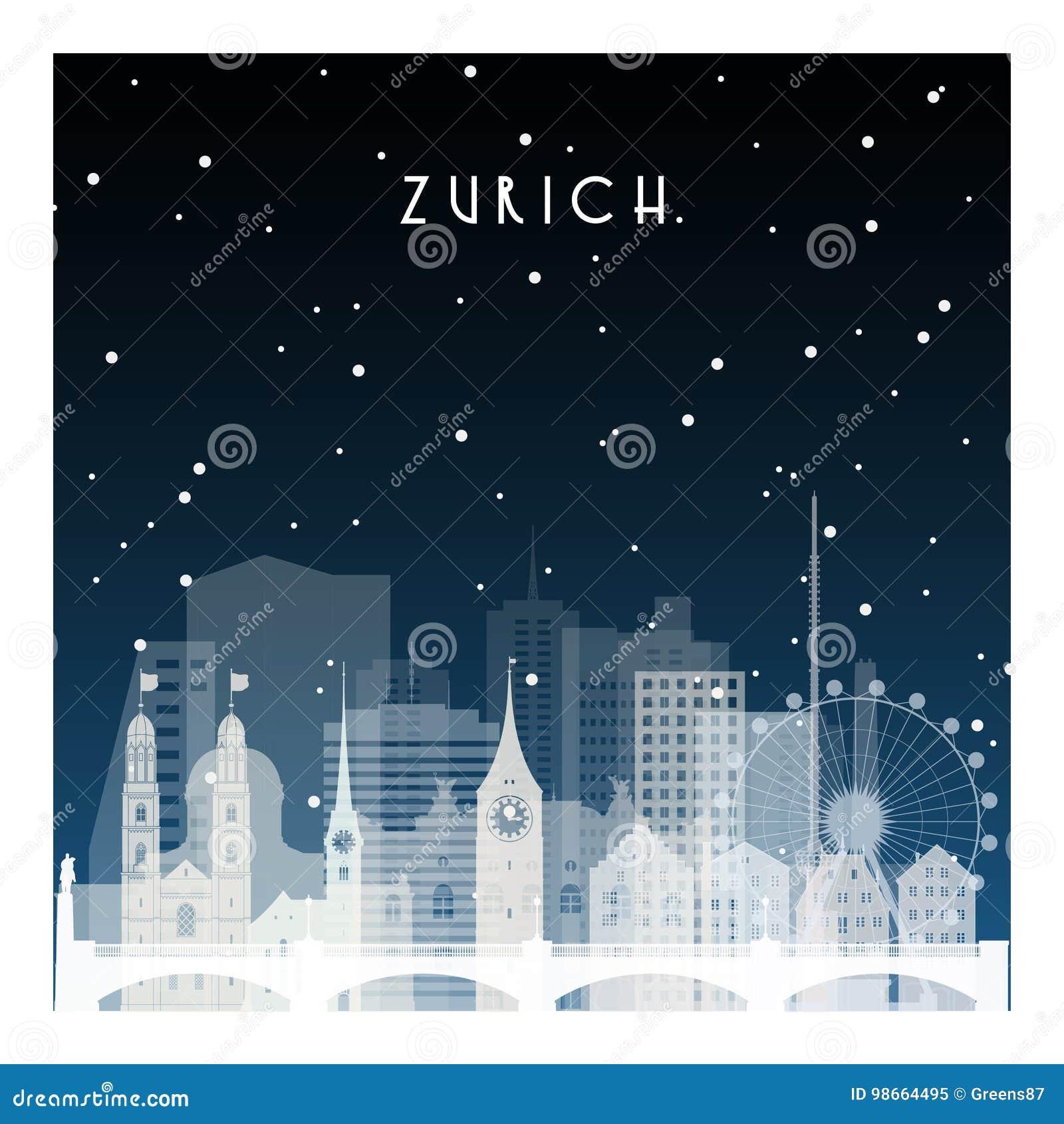 Noite do inverno em Zurique