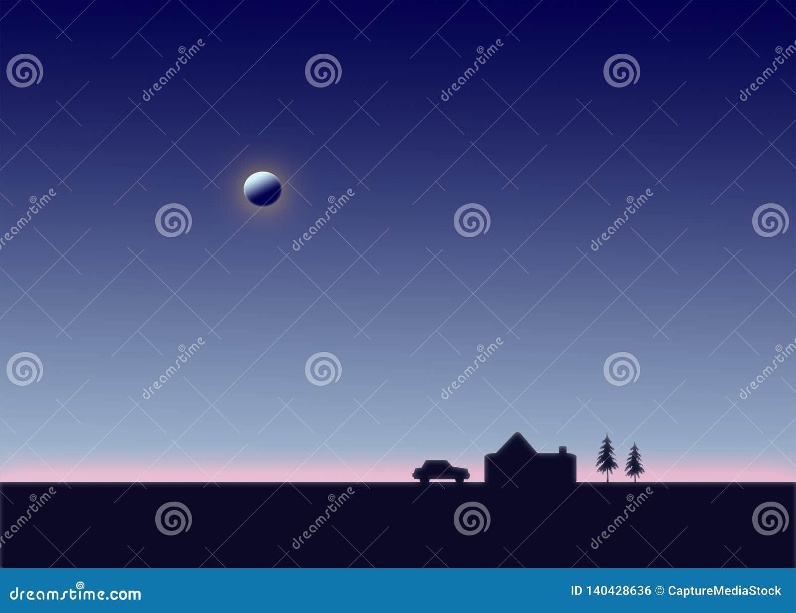 Noite Dos Desenhos Animados Lua No Ceu Carro Estacionado Casa