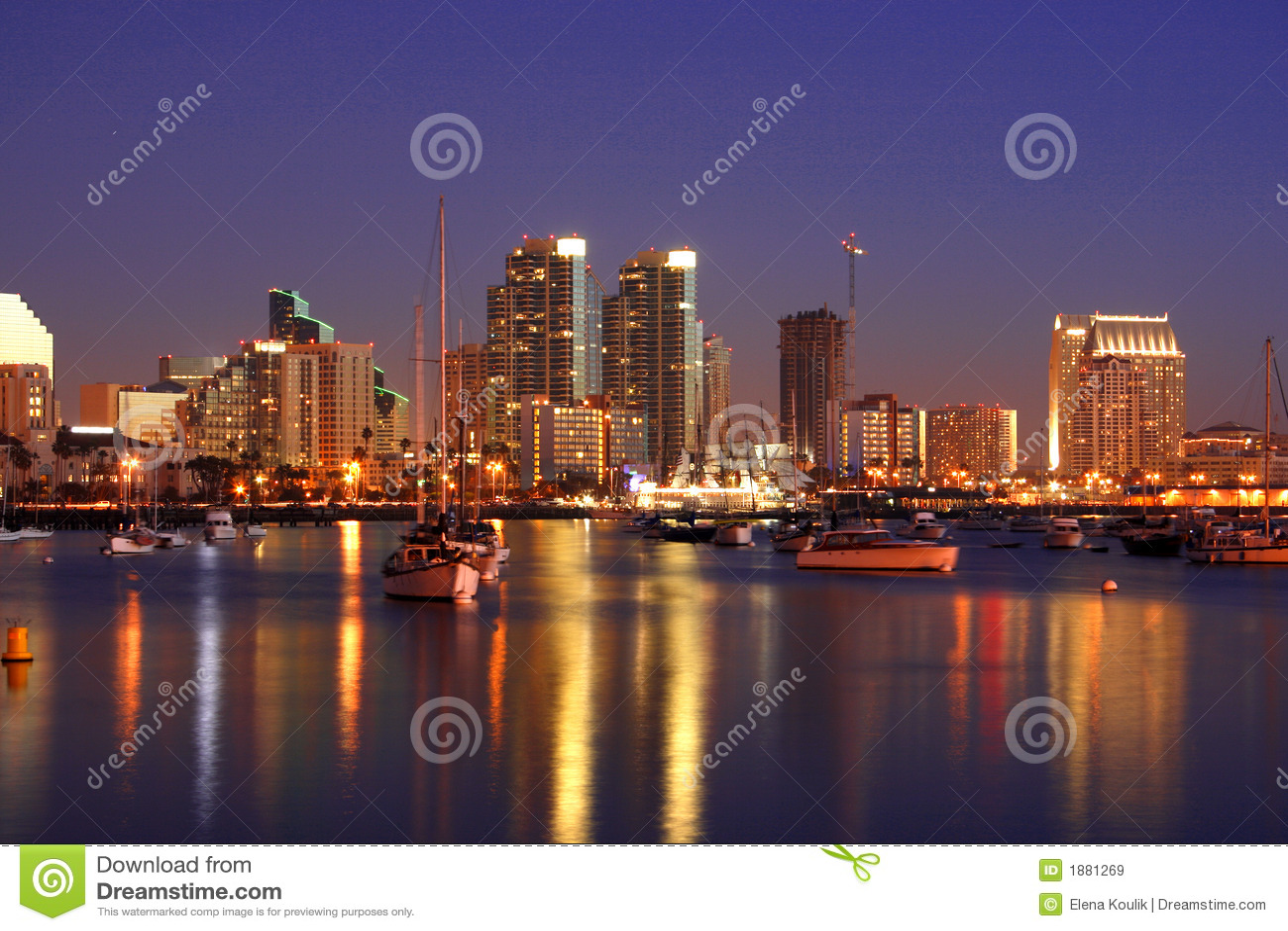 Noite em San Diego, Ca, skyline