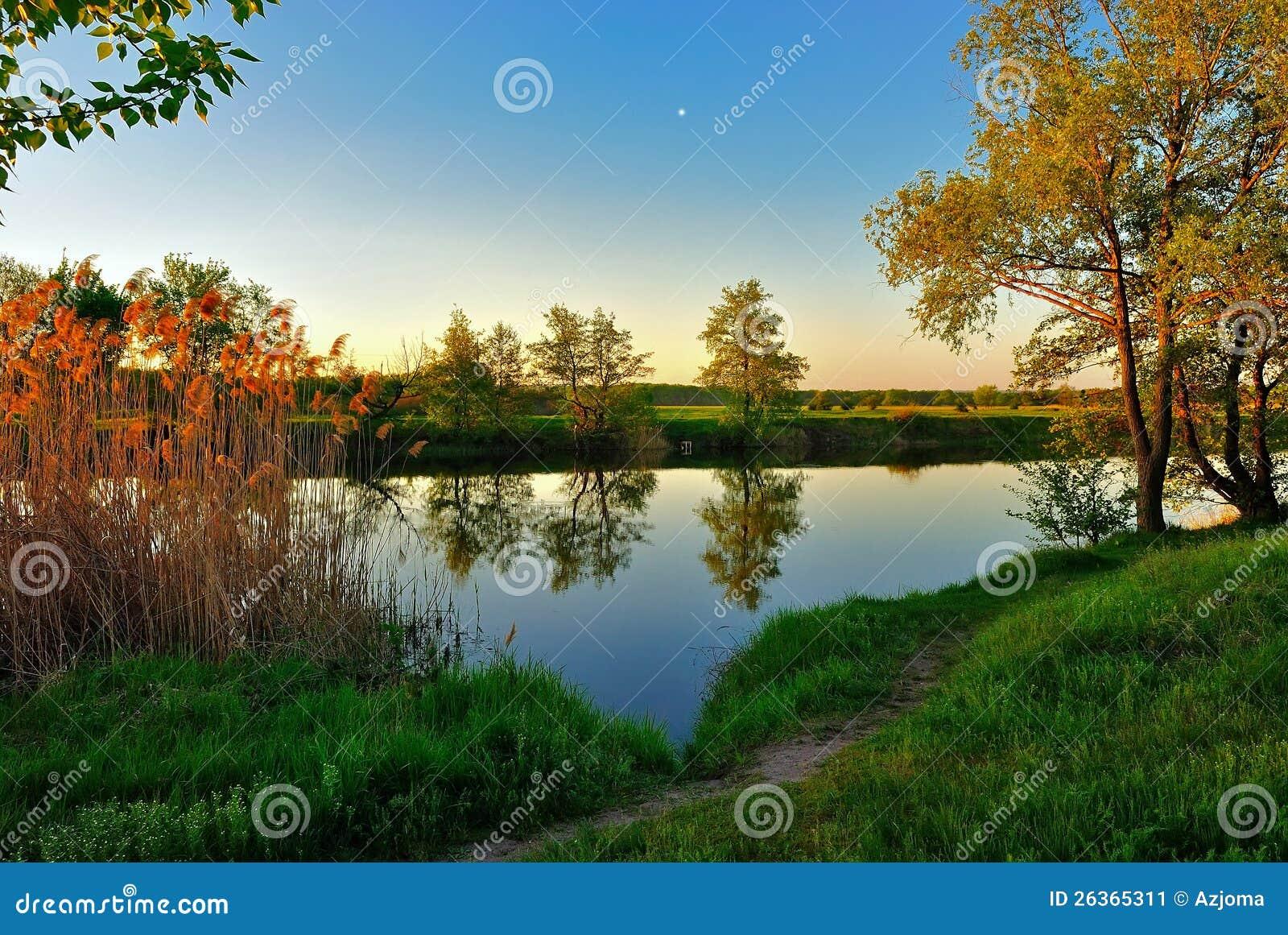 Noite silenciosa do verão pelo rio