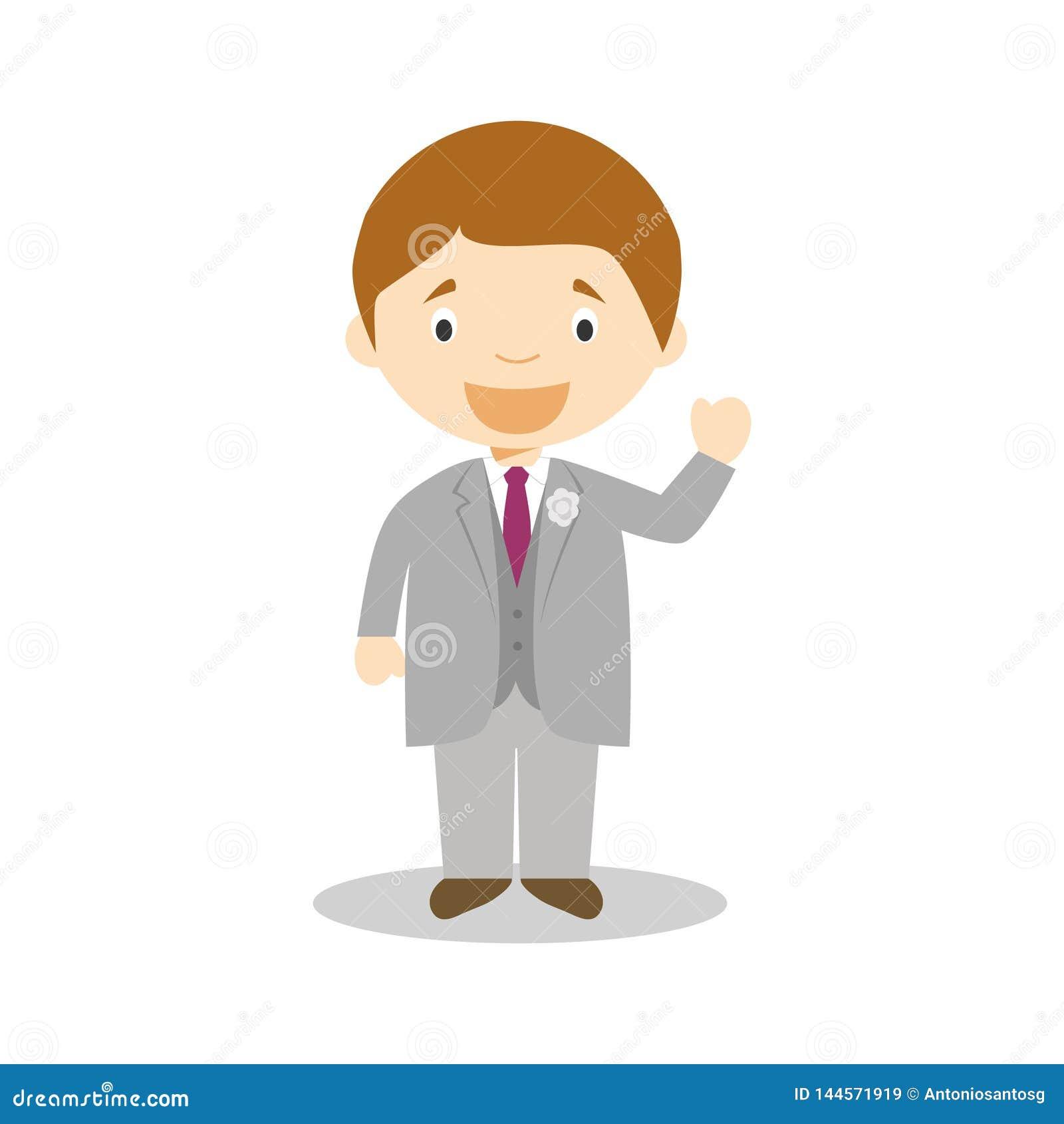 Noivo caucasiano que veste um terno cinzento na ilustração do vetor do estilo dos desenhos animados
