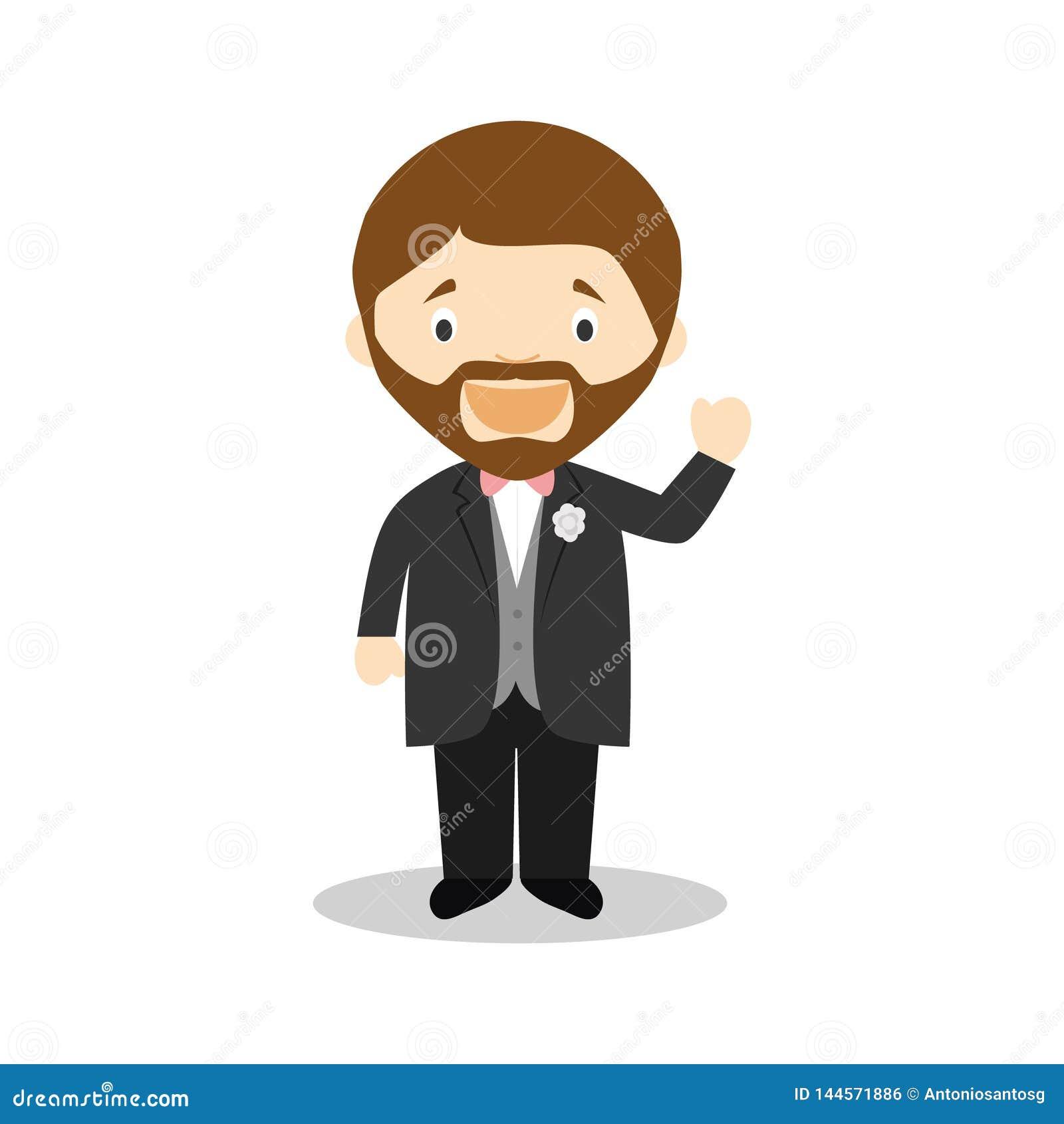 Noivo caucasiano que veste um terno preto na ilustração do vetor do estilo dos desenhos animados