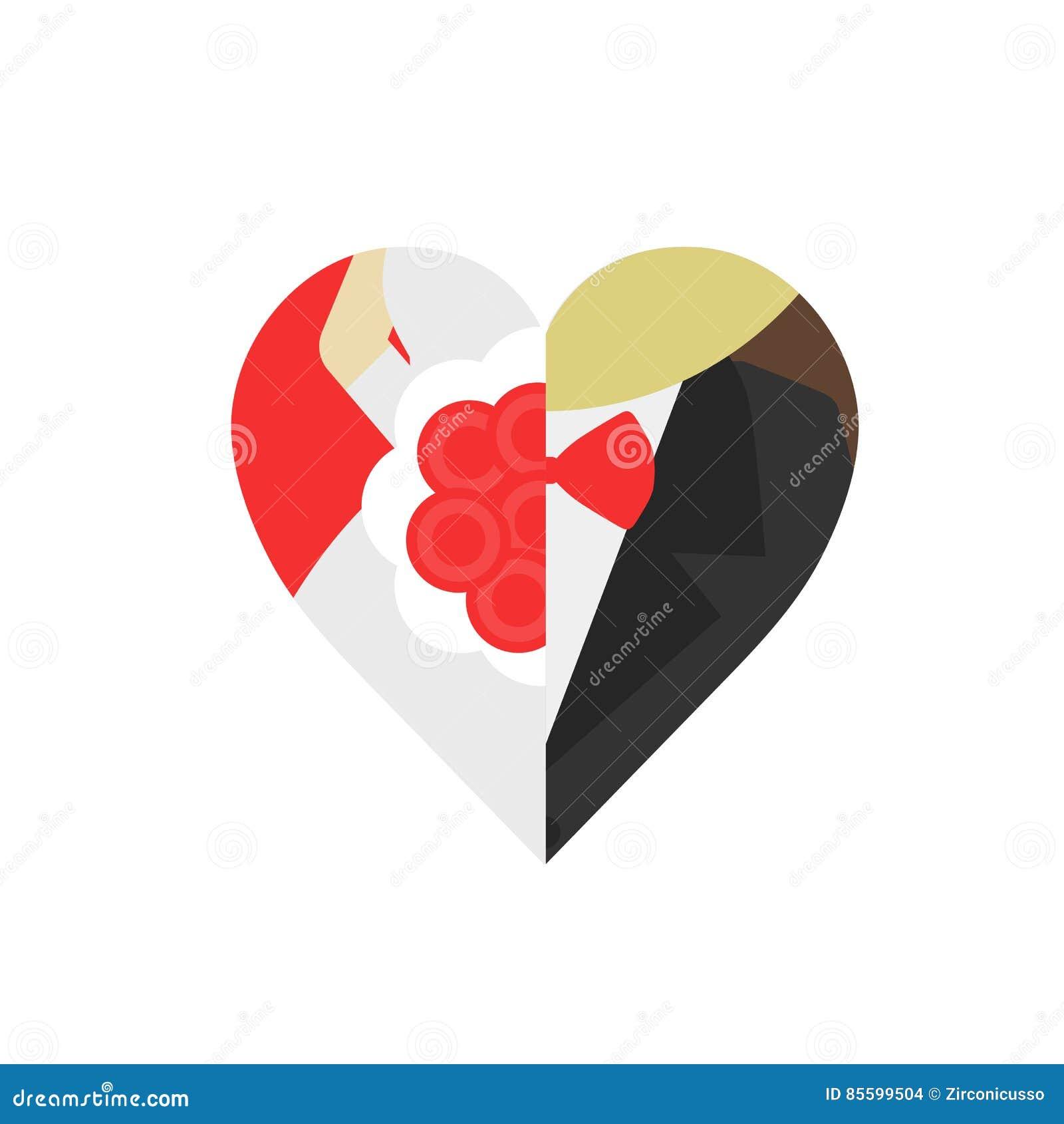 Noivo e noiva na forma do coração