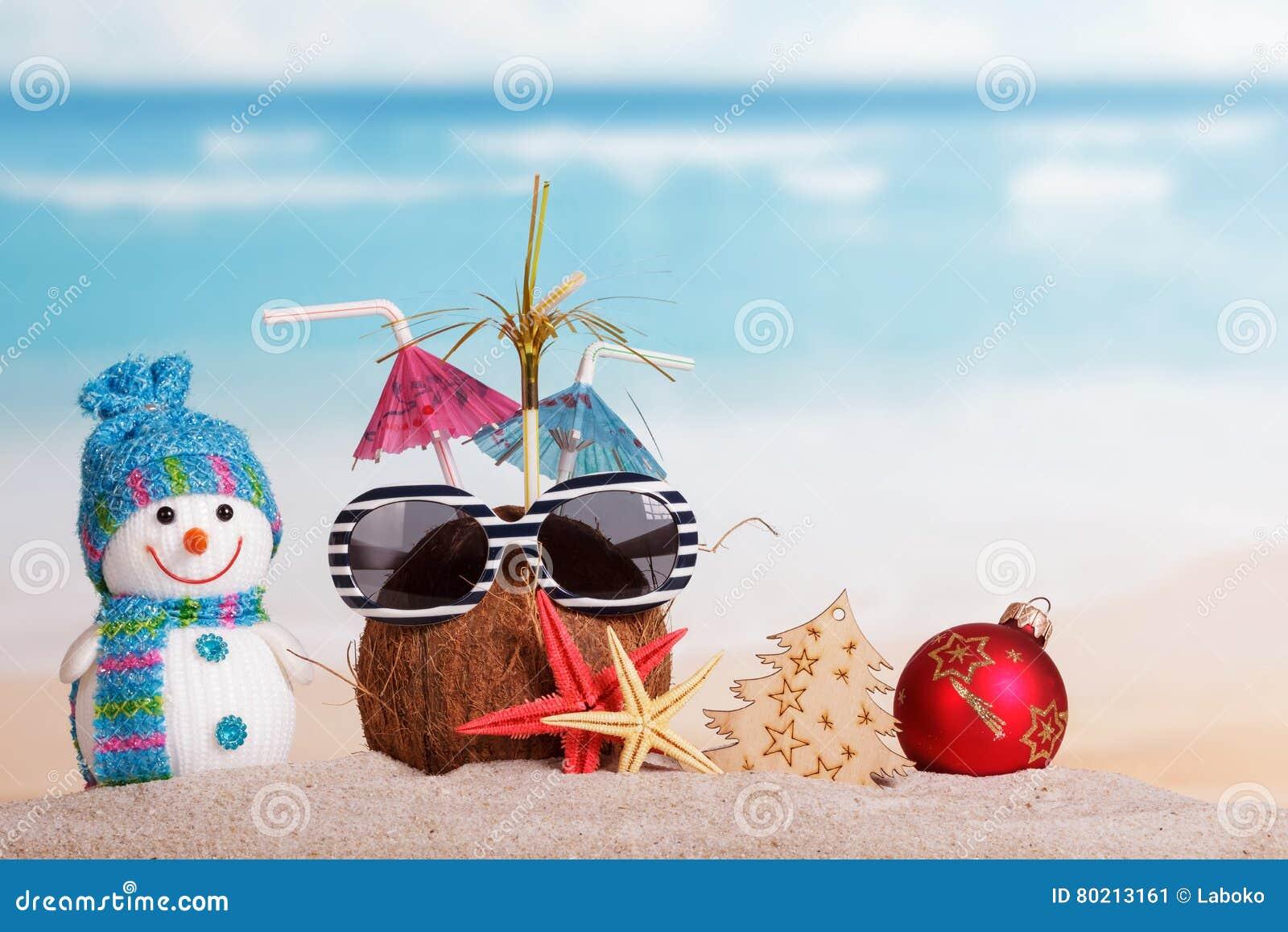 Noix de coco et lunettes de soleil bonhomme de neige - Arbre boule de neige ...
