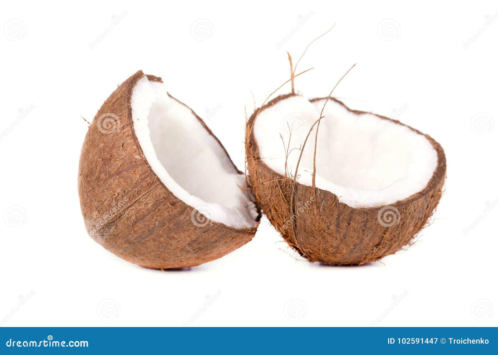 Noix de coco de fruit tropical Noix de coco d isolement sur le fond blanc