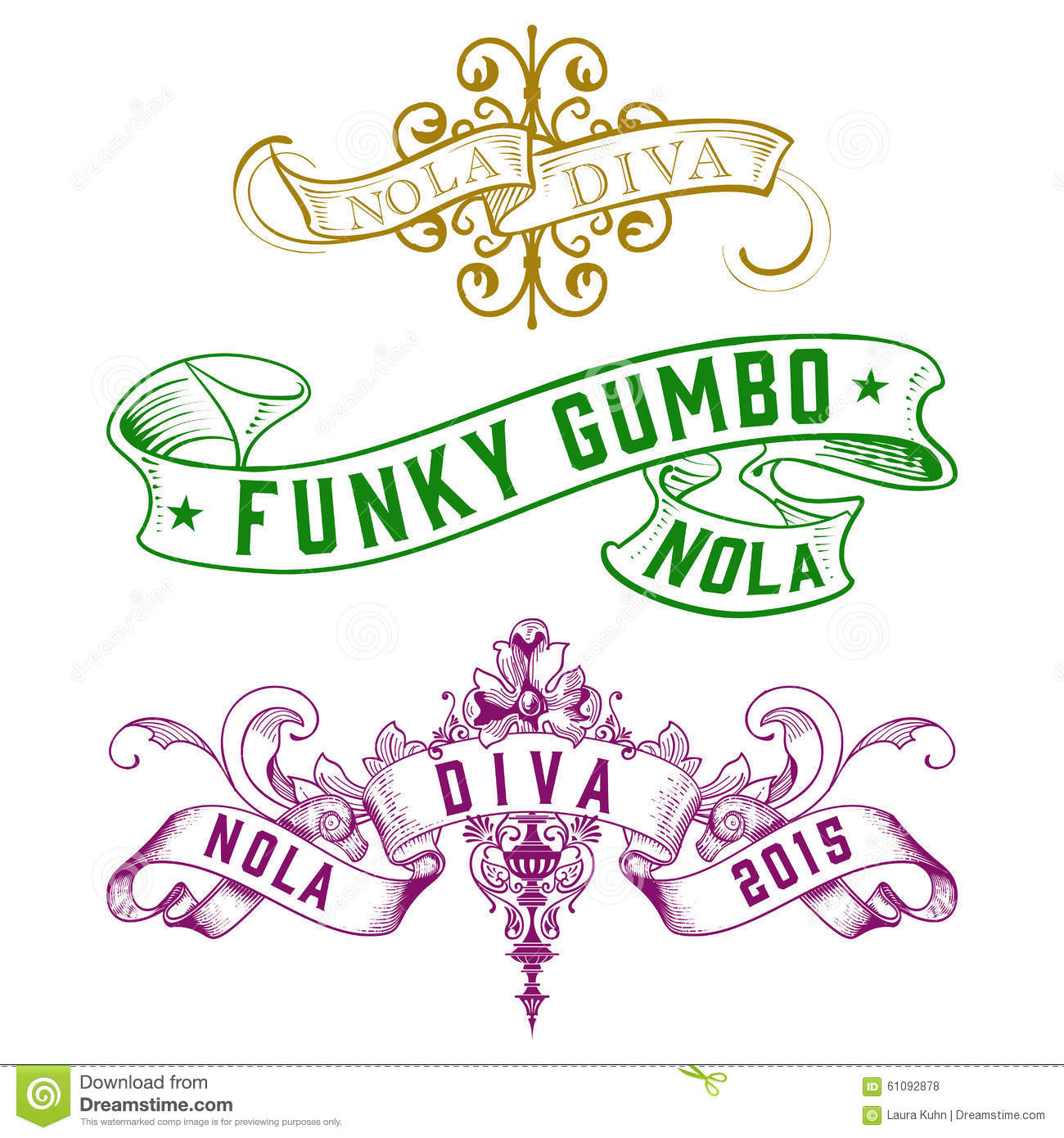NOLA Diva Funky Gumbo New Orleans Designs Stock