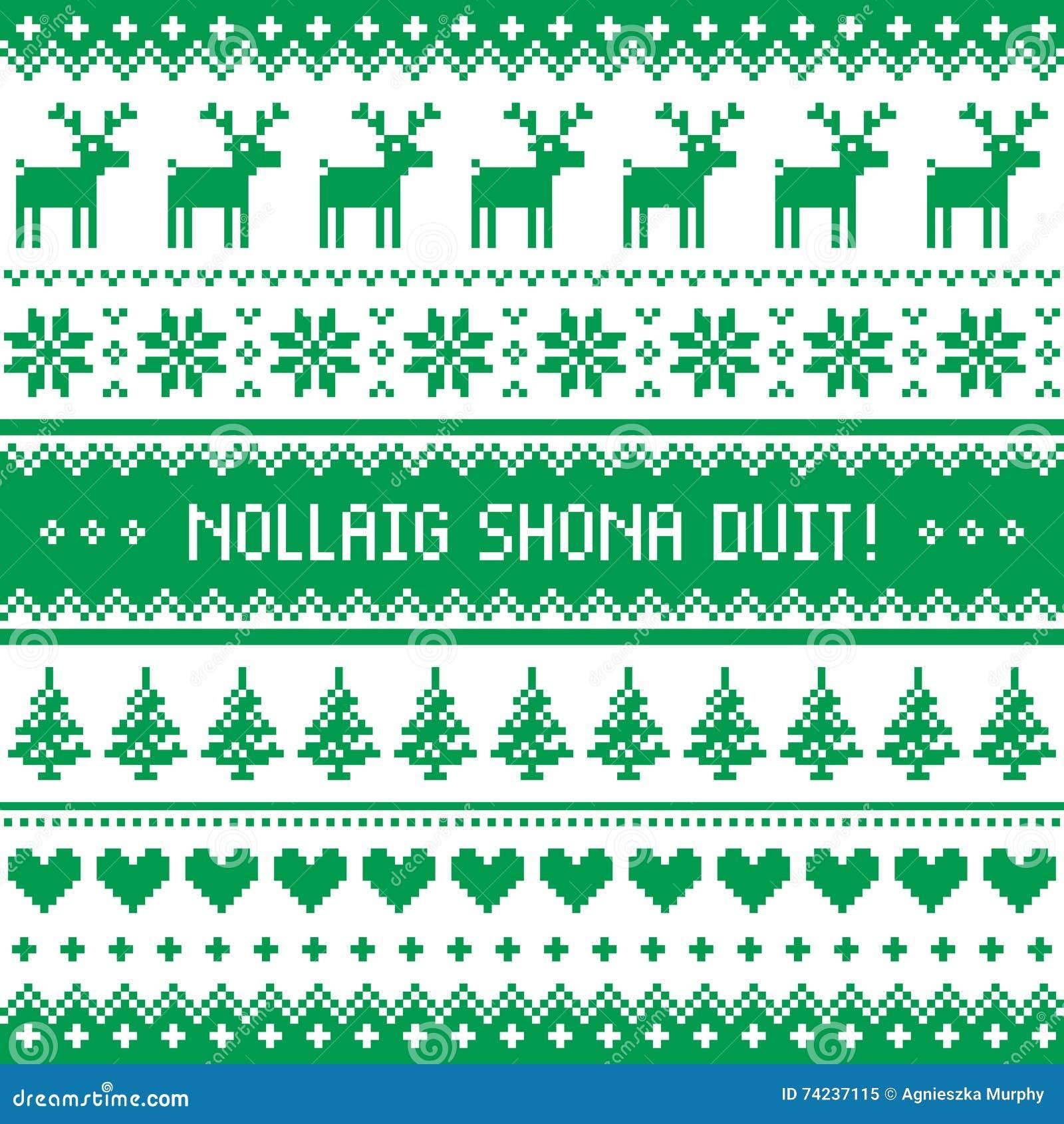 Frohe Weihnachten Irisch.Nollaig Shona Duit Frohe Weihnachten Im Irischen Muster Grußkarte