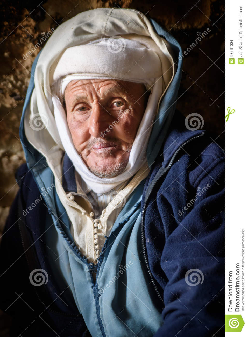 Nomad man living in the cave, Nomad Valley, Atlas Mountains, Morocco