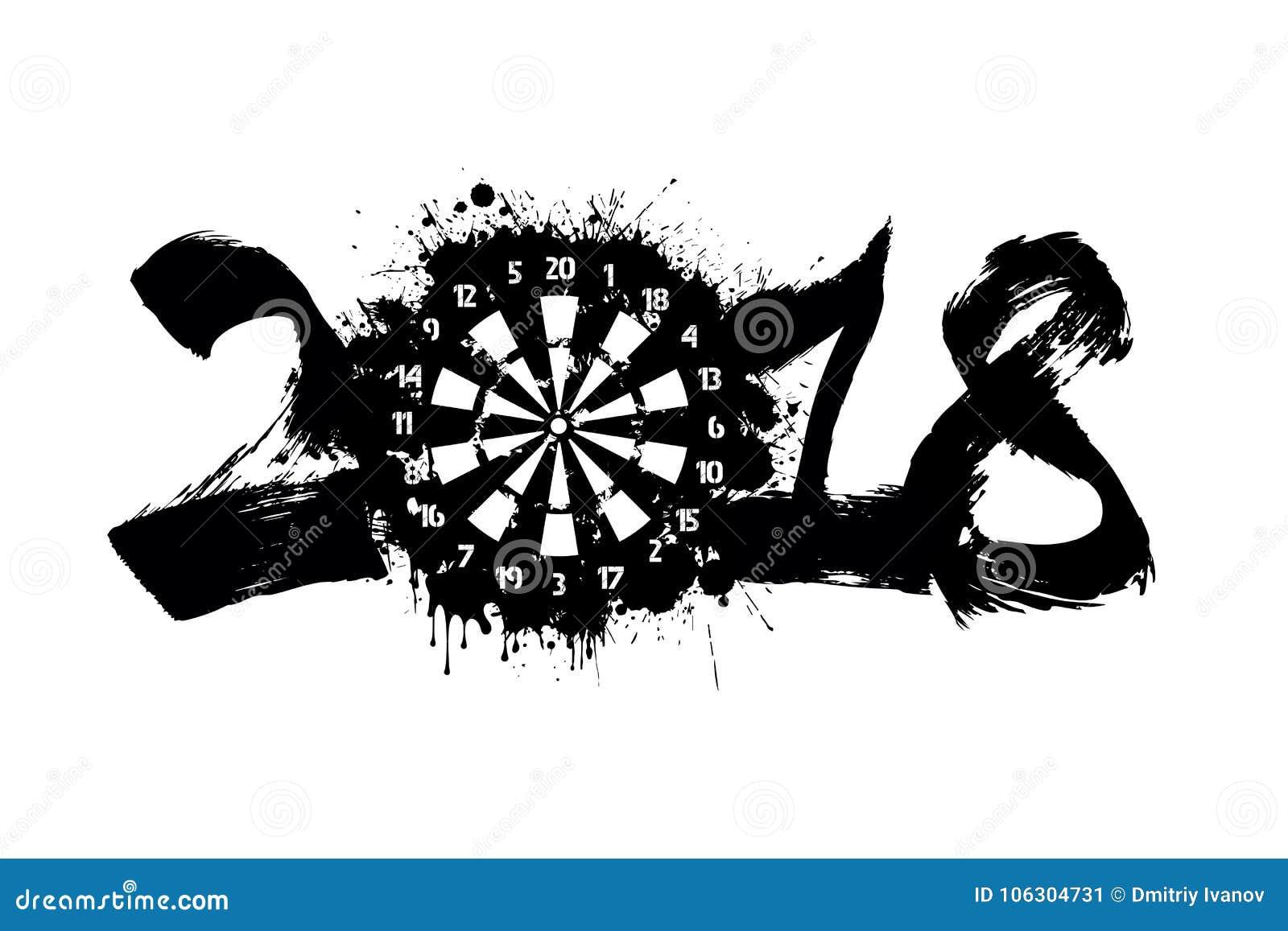 Nombre abstrait 2018 et panneau de dards