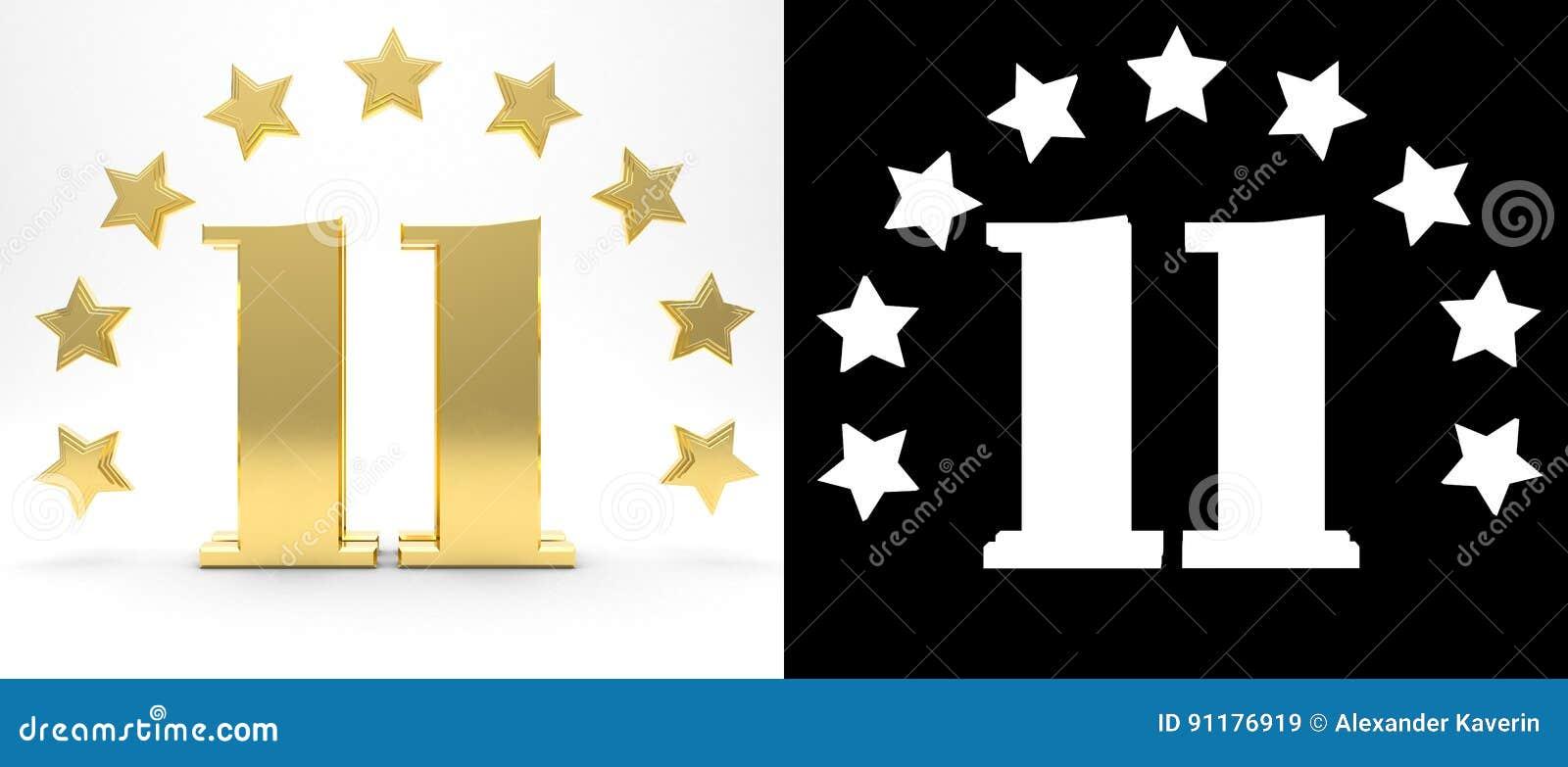 Nombre d or onze sur le fond blanc avec l ombre et le canal alpha de baisse, décorés d un cercle des étoiles illustration 3D