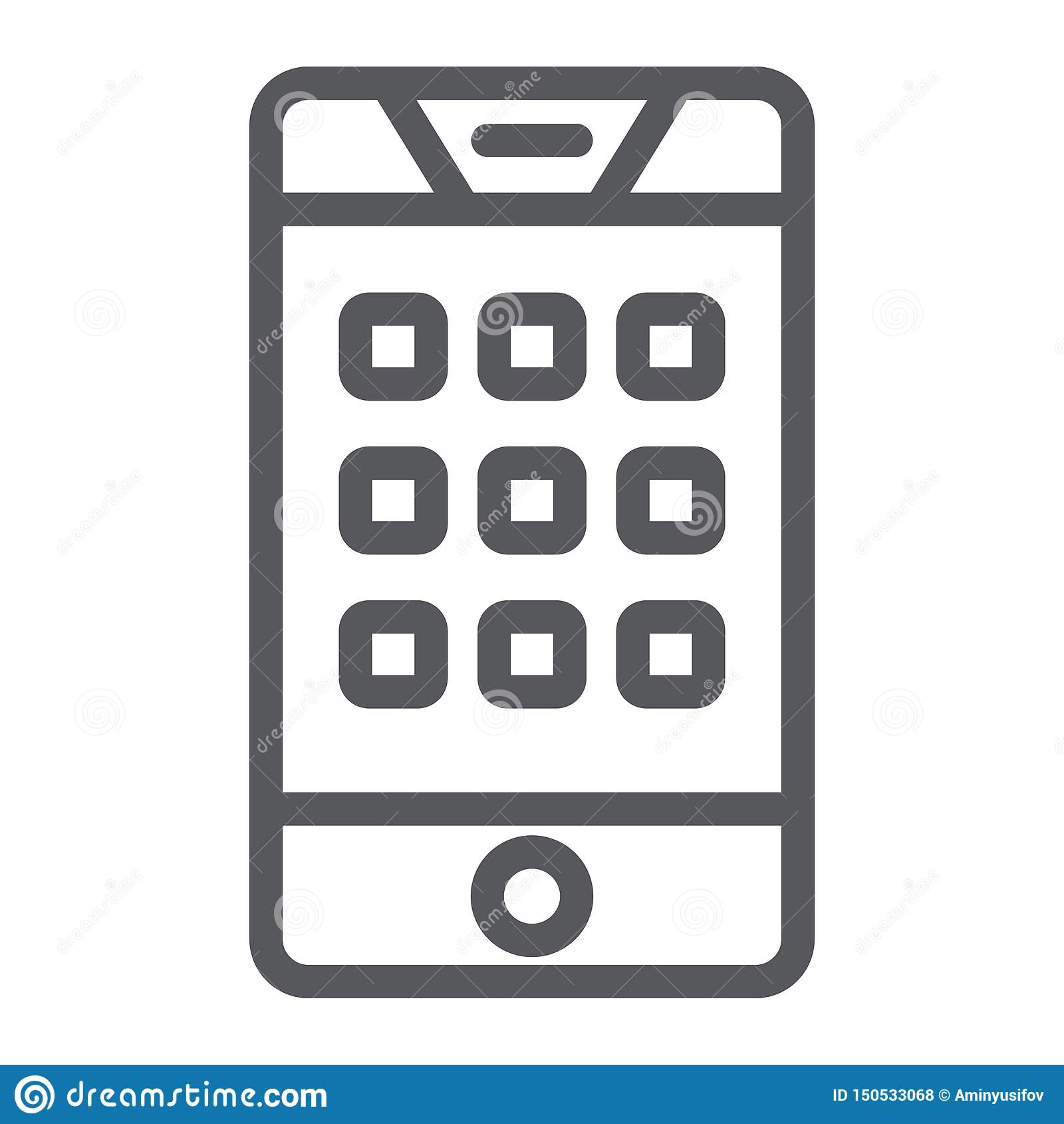 Nombre de cadran sur l icône de ligne téléphonique, le mobile et l appel, clavier numérique sur le signe de smartphone, graphique