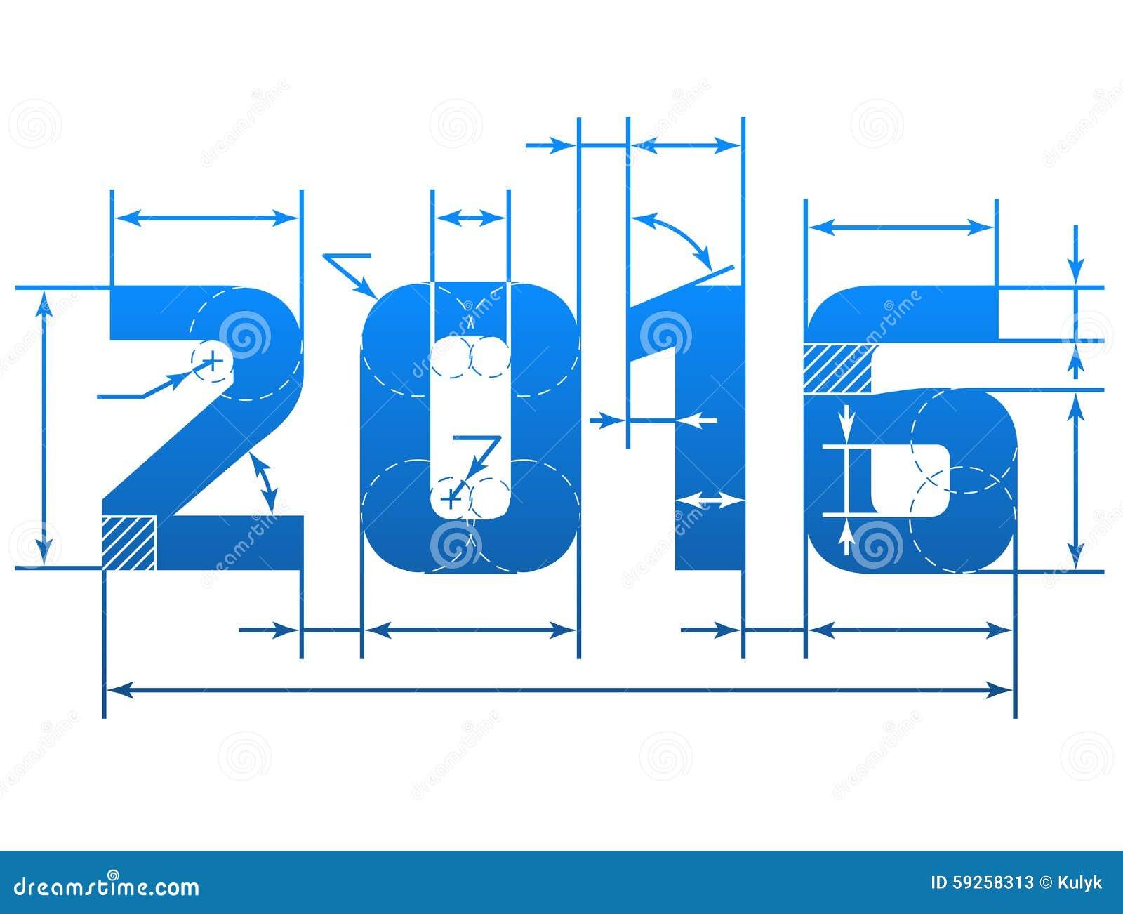 Nombre De La Nouvelle Annee 2016 Avec Des Lignes De Dimension