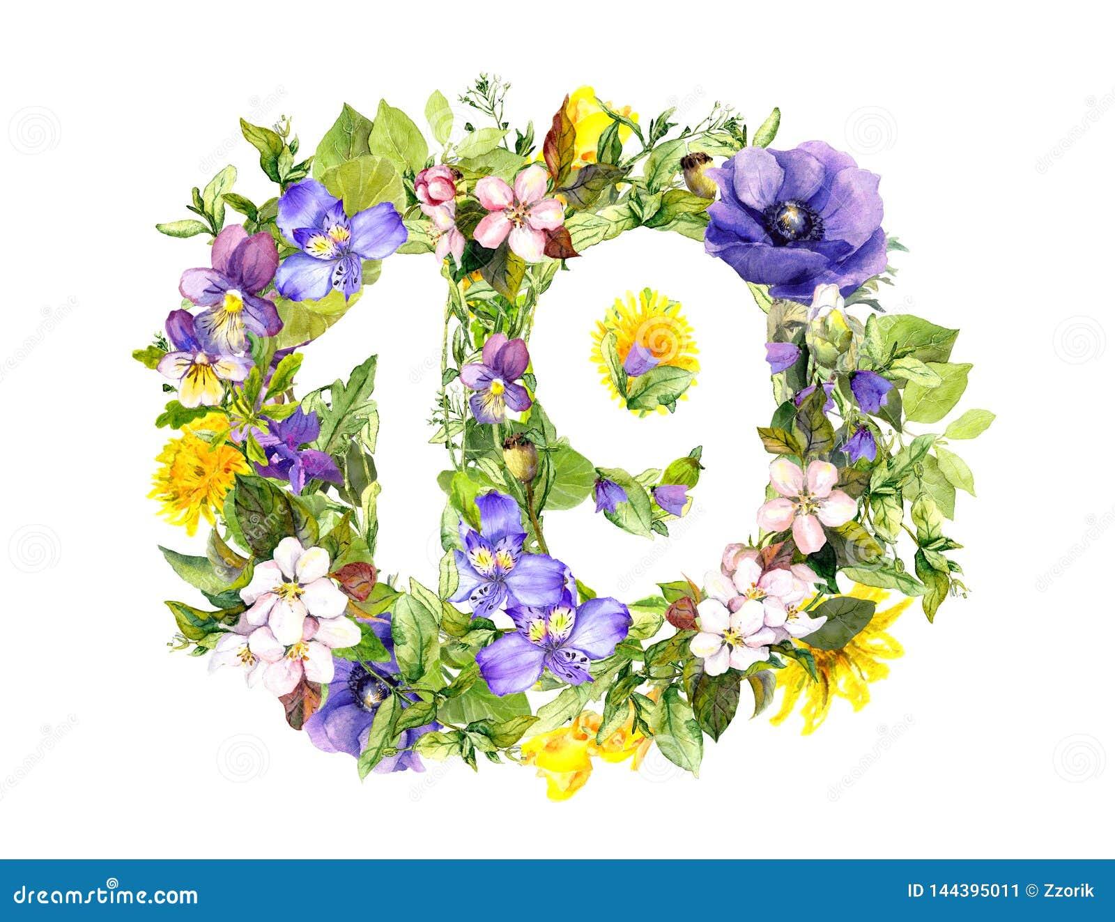 Nombre floral 19 dix-neuf des fleurs d été watercolor