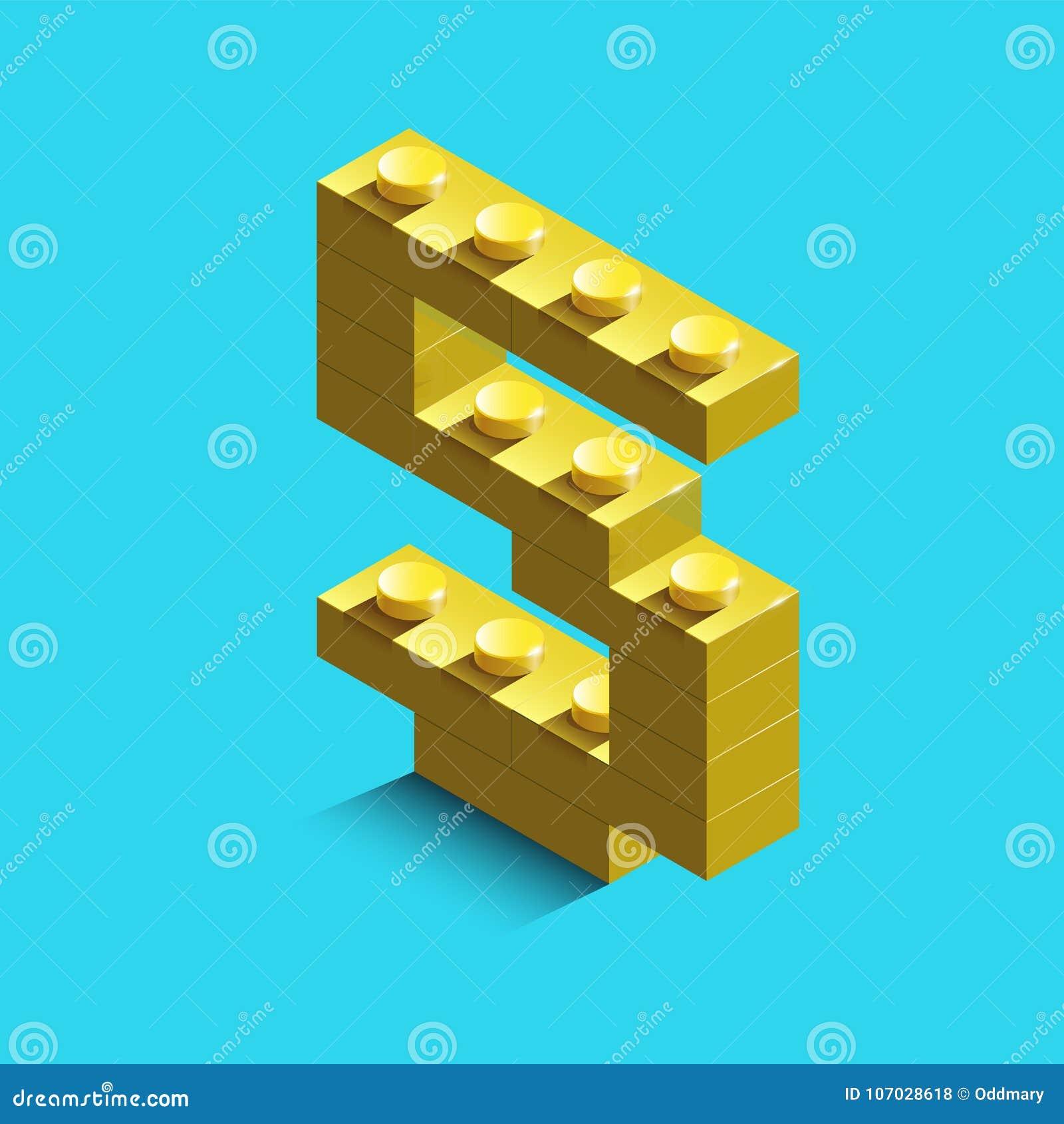 Nombre jaune cinq des briques de lego de constructeur sur le fond bleu 3d lego numéro cinq
