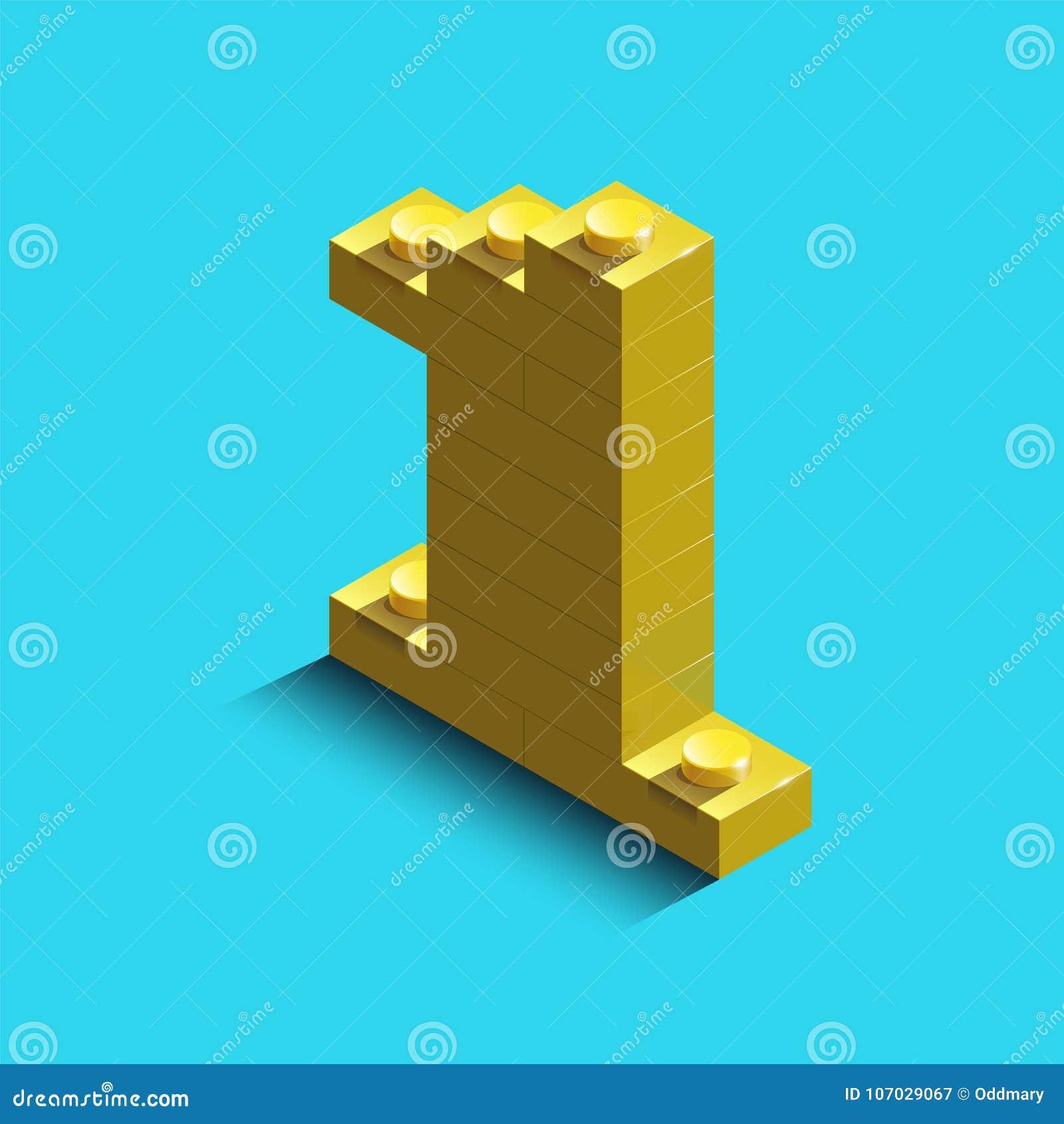 Nombre jaune un des briques de lego de constructeur sur le fond bleu 3d lego numéro un