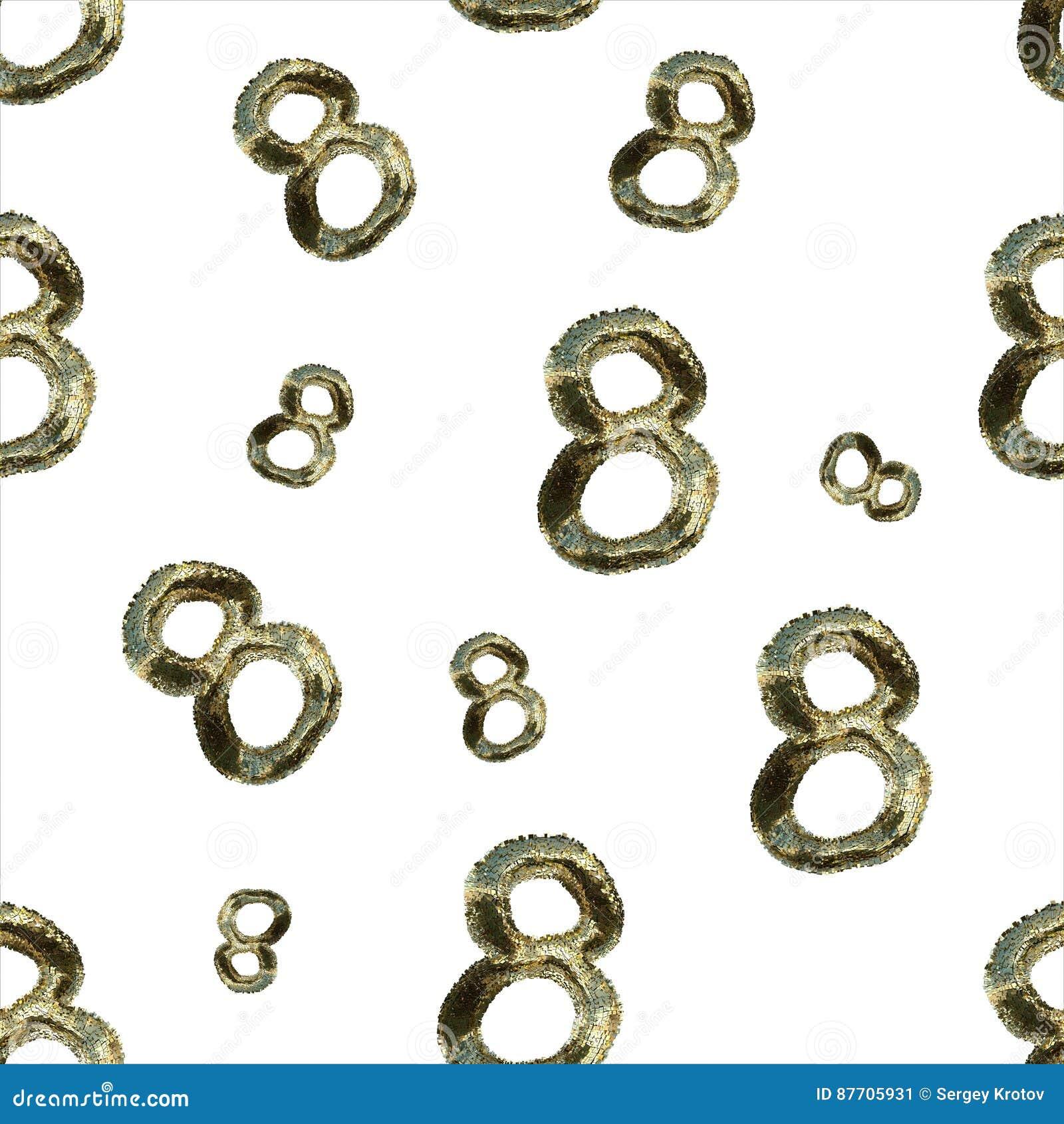 8 nombres d or faits par la fourrure ou les boîtes d isolement sur le fond lumineux Modèle sans couture de conception du jour de