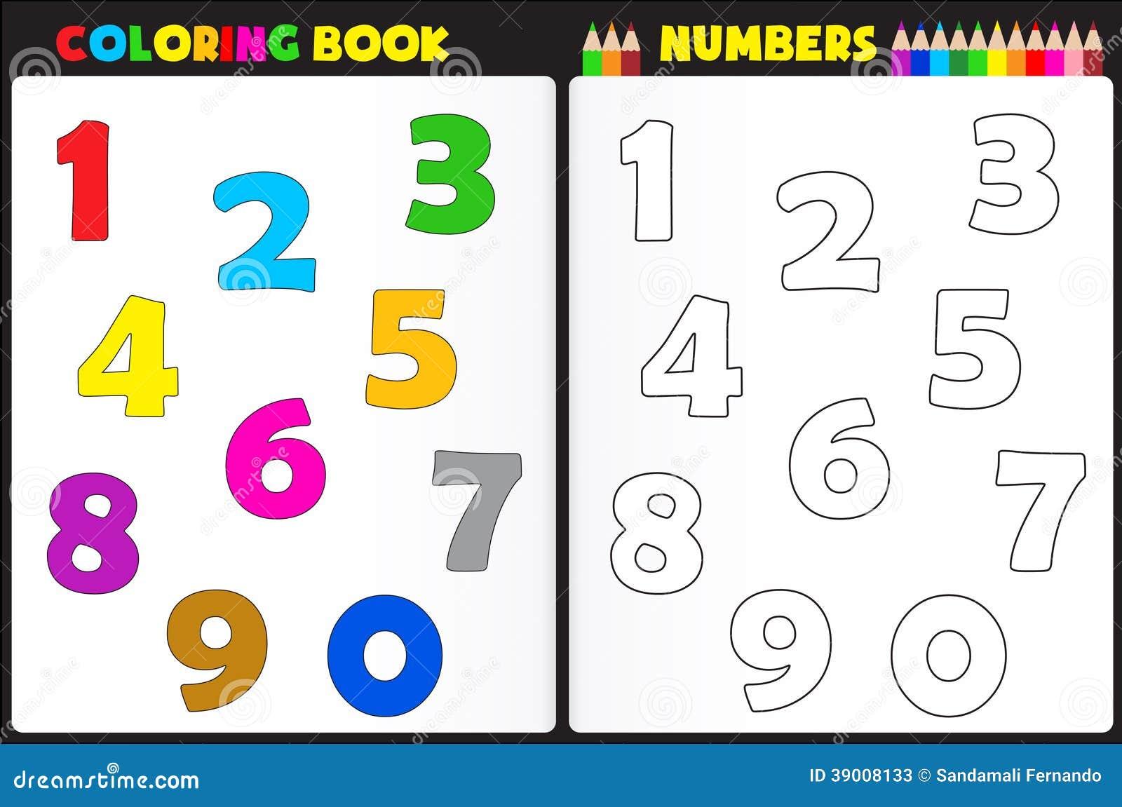 Nombres De Livre De Coloriage Illustration De Vecteur
